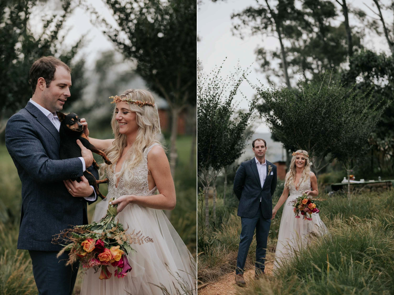 Bride and groom laughing holding their dog.