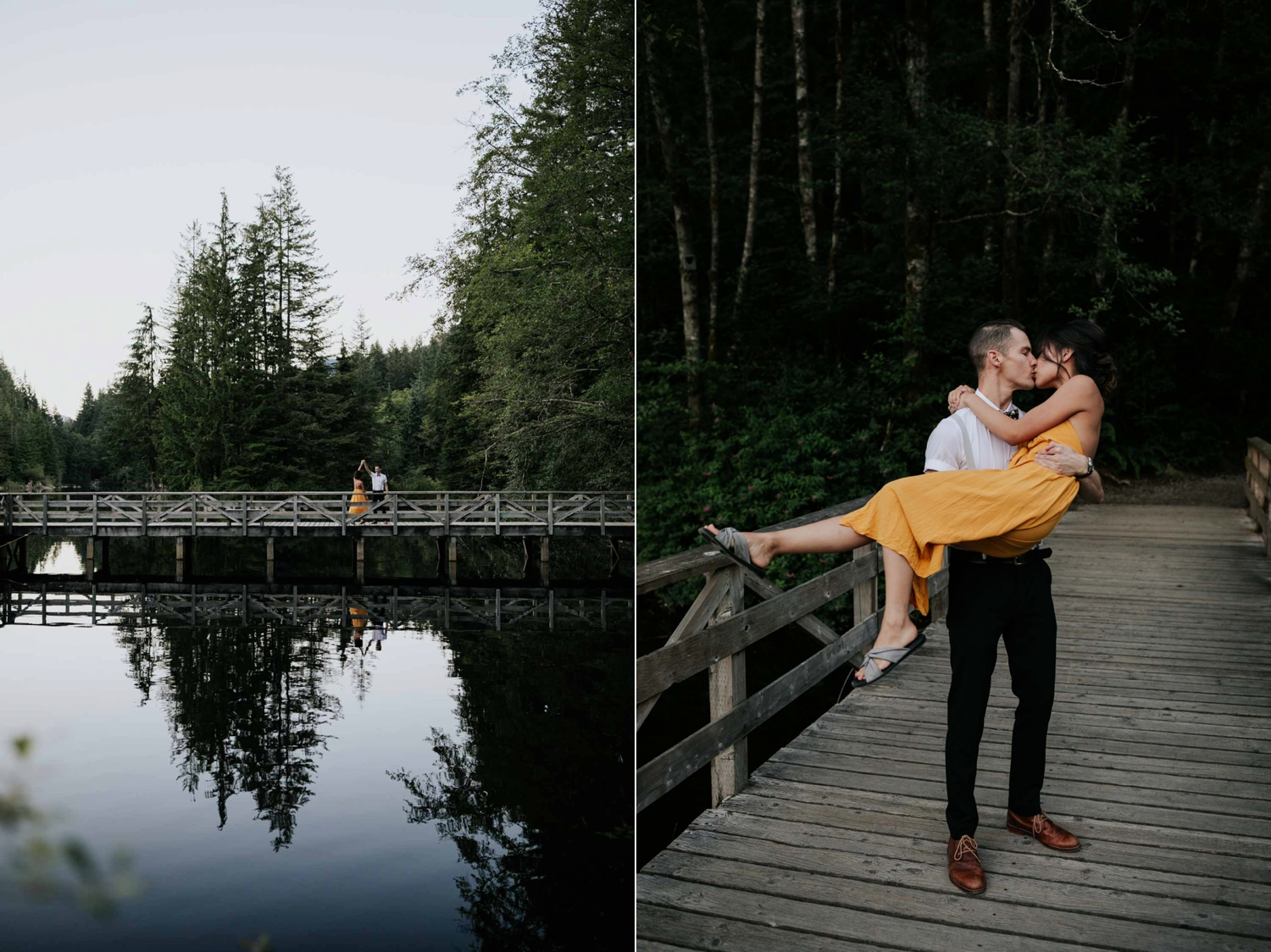 Couple dancing together on a bridge at Rice Lake, Vancouver.