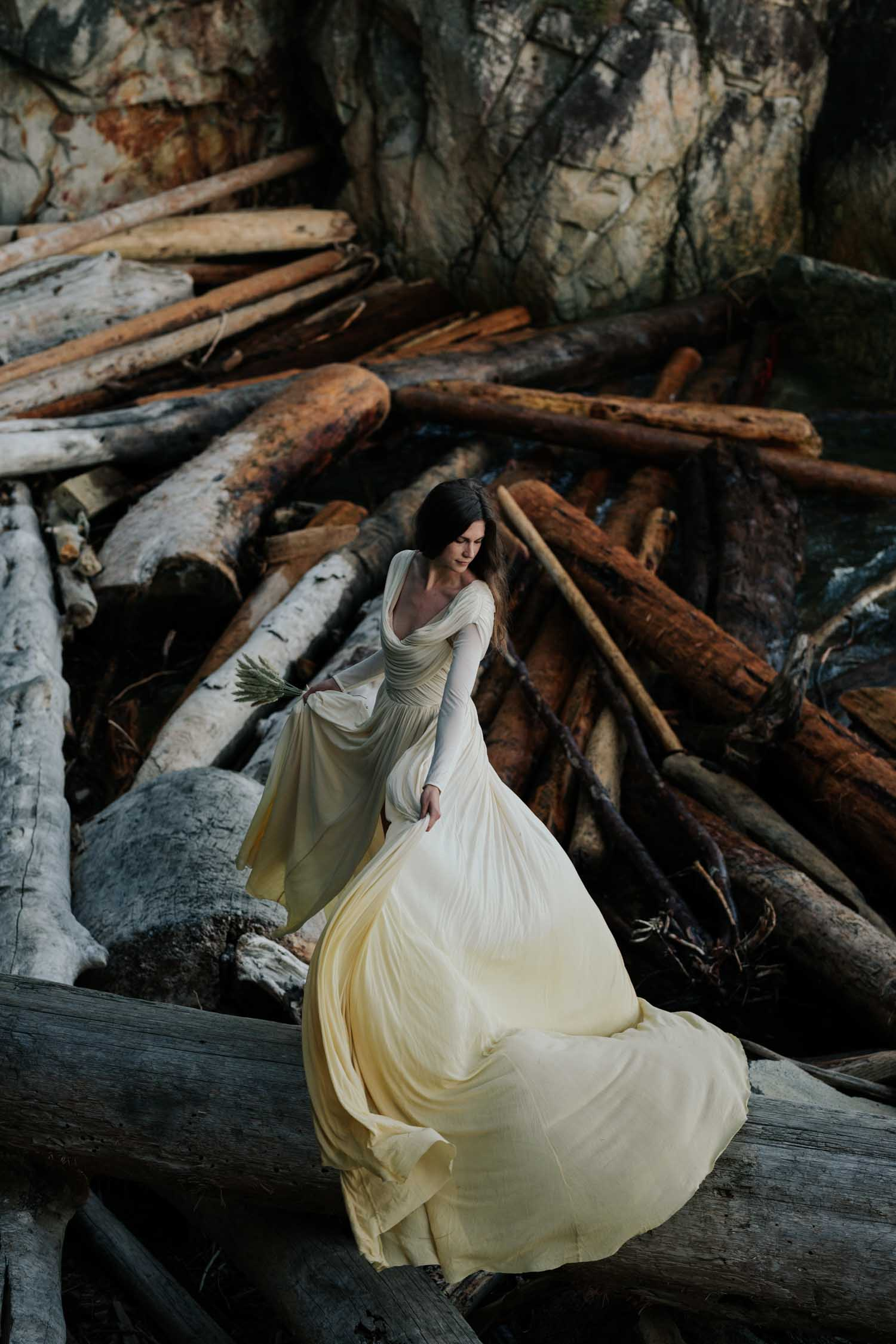 Amazing Epic Photo Of Bride In Trending Long Sleeved Two Tones Wedding Dress At Lighthouse Park West Vancouver