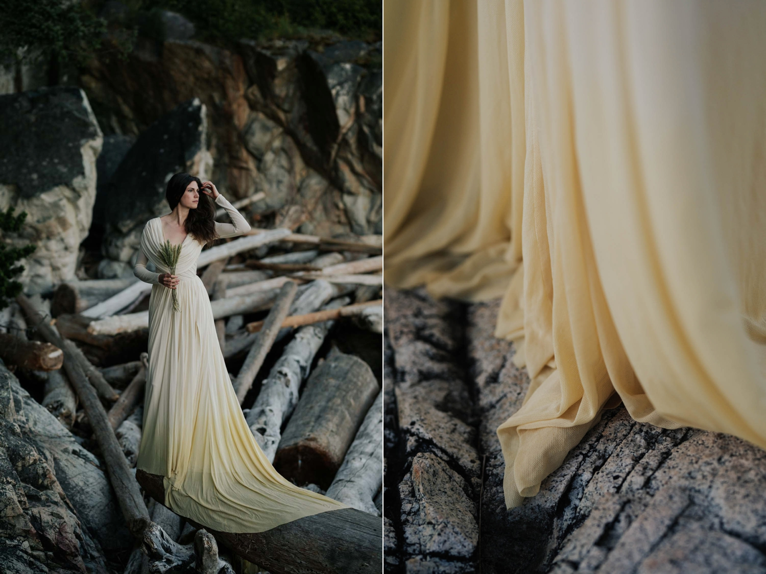 Natural Bride Wearing Simple Tea Stained Wedding Dress Standing On Log In Vancouver At Lighthouse Park.