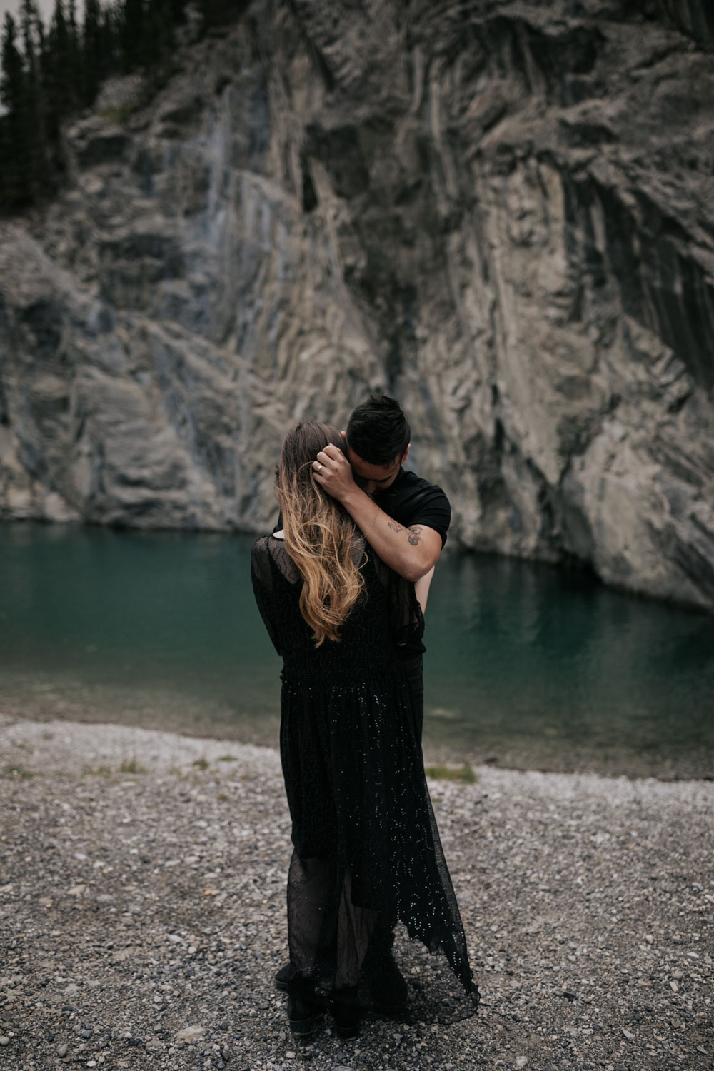 Turquoise Blue Moraine Lake Engagement Photo Shoot Session