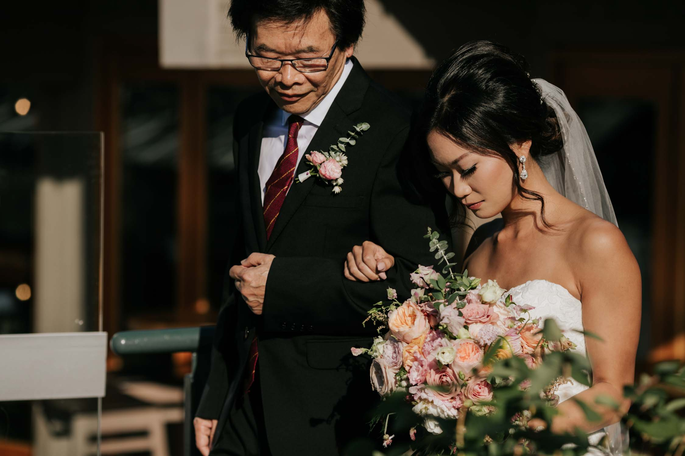 Bride Walks With Father Down Aisle Emotional Moment