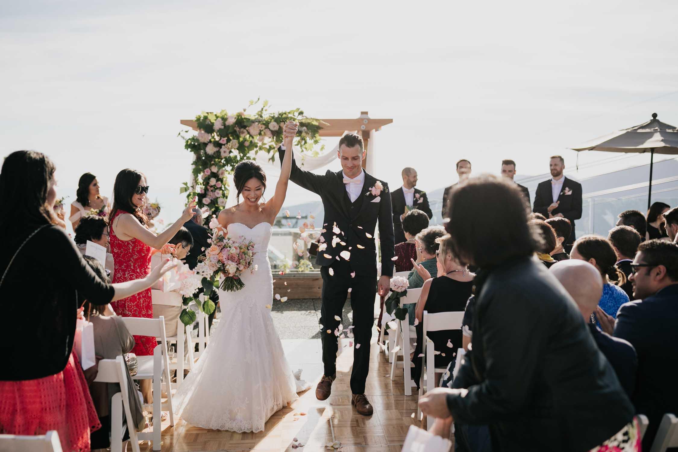 Altitudes Bistro Grouse Mountain Wedding Ceremony Confetti Throw Rose Petals