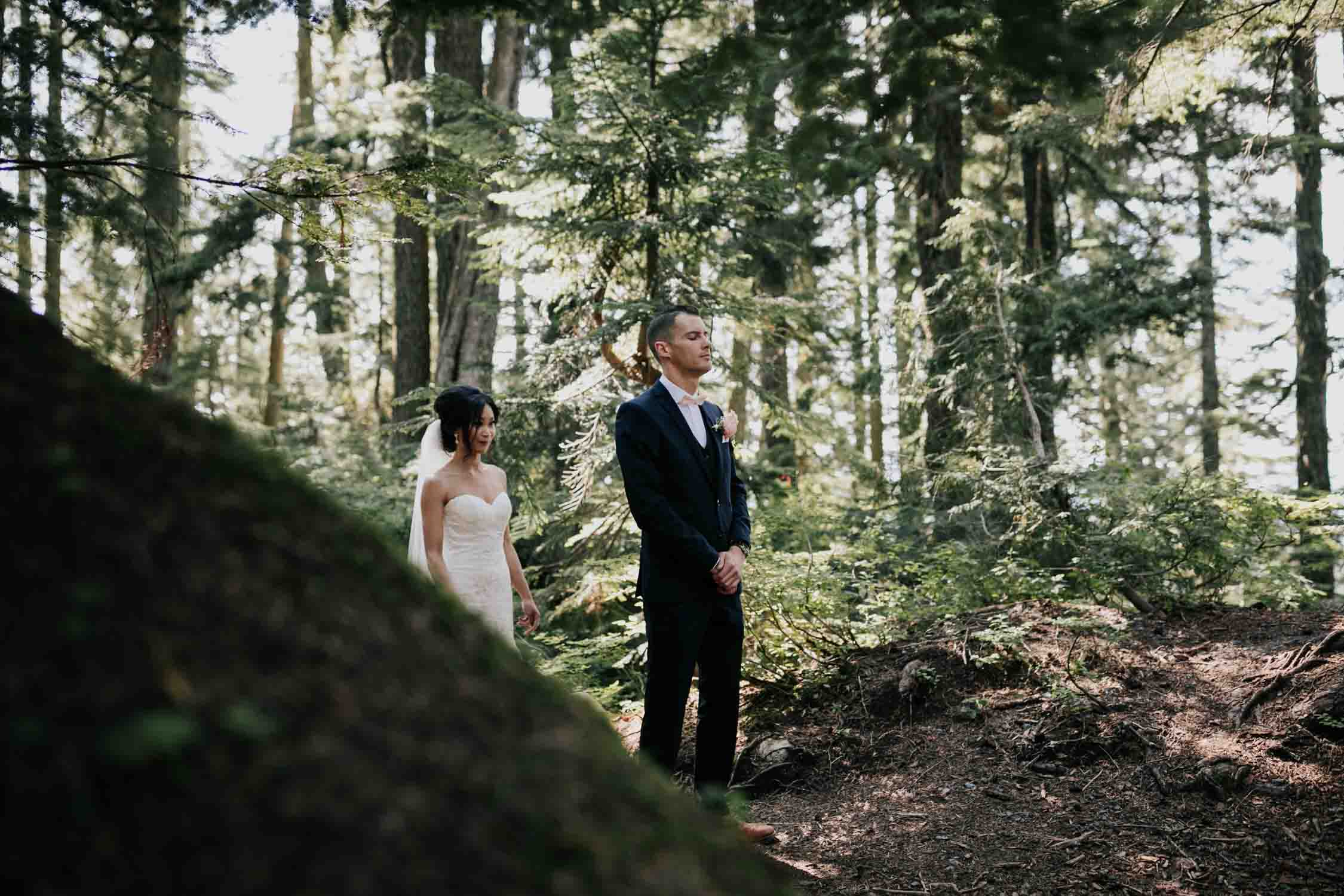 Emotional Moment Groom Waits For Bride First Look Grouse Mountain