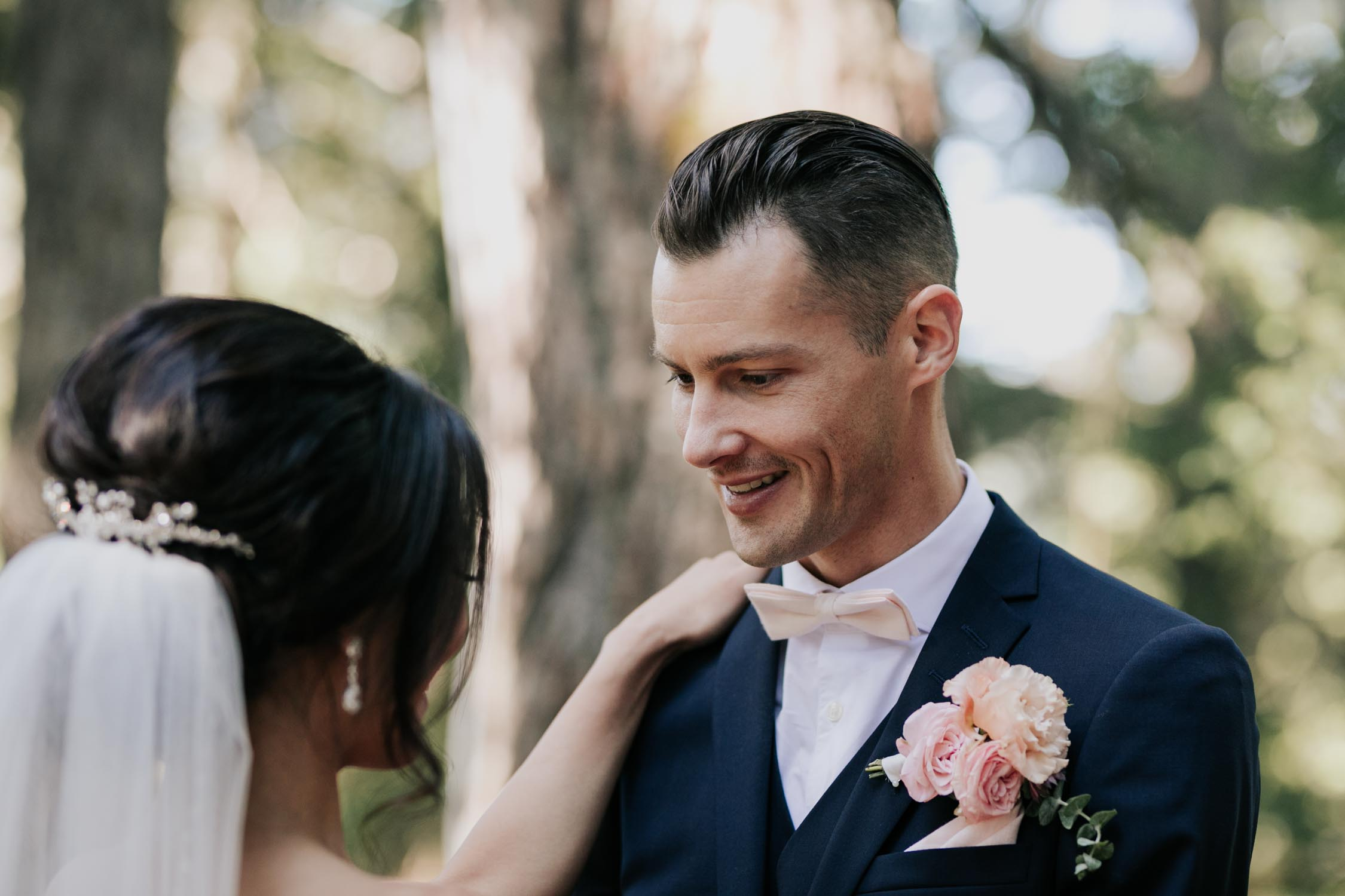 Emotional Groom Sees Bride First Look Wedding Day Grouse Mountain