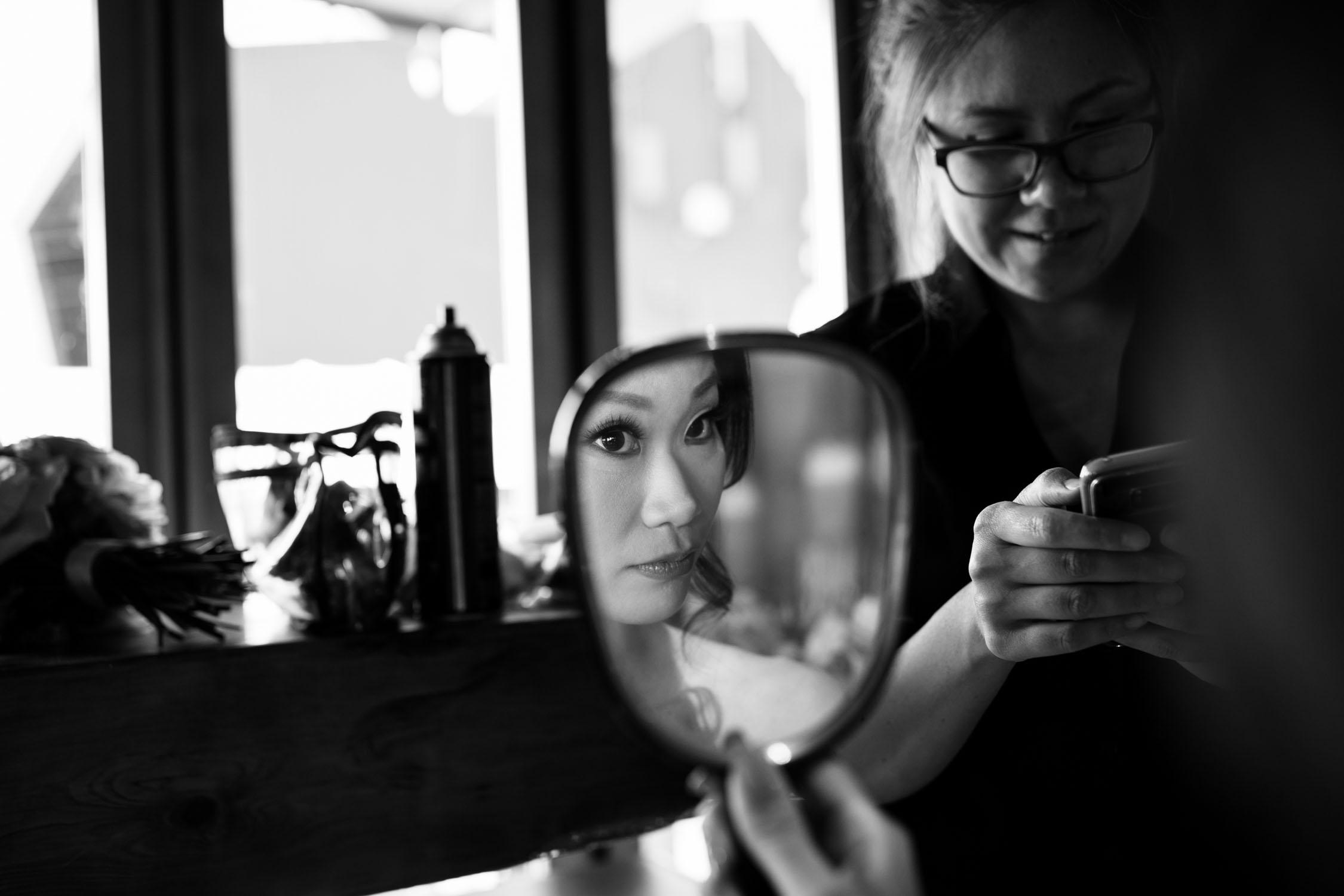 Bride Looks In Mirror Wedding Photo Shot Vancouver Island