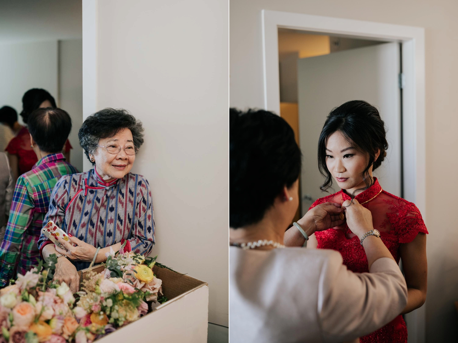 Bride Red Dress Outfit Chinese Tea Ceremony Vancouver