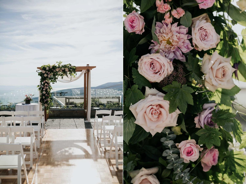 Flower Wedding Arch Ceremony Altitudes Bistro Vancouver Wedding Venue
