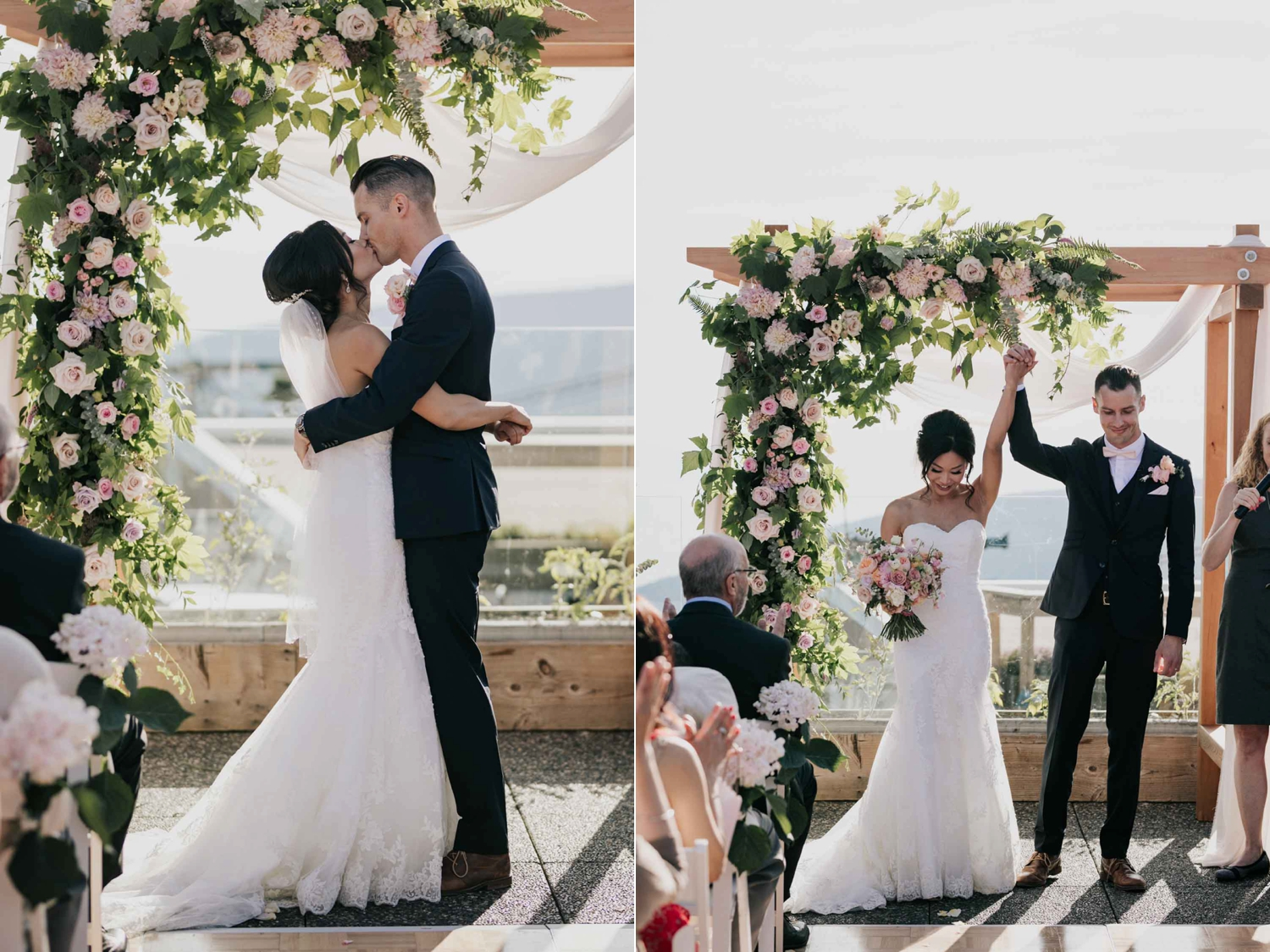 First Kiss Pink White Wooden Flower Arch Ceremony Location Altitudes Bistro Vancouver Wedding Venue