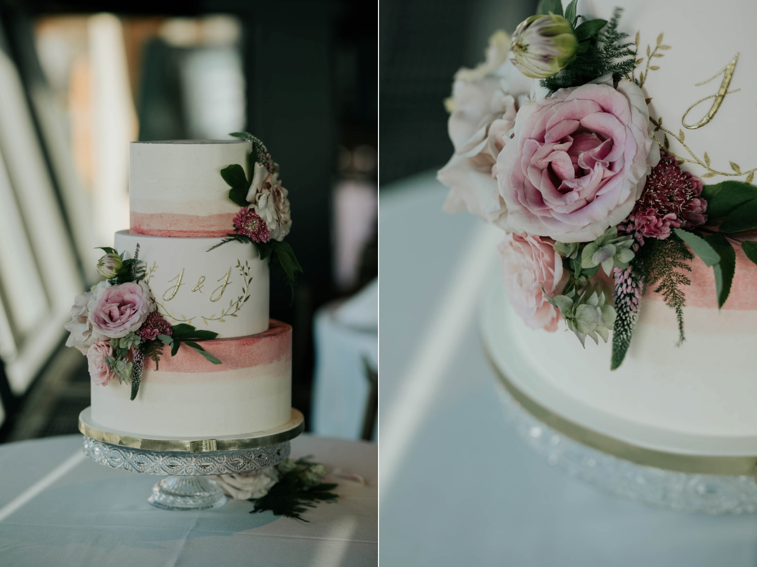 Trending Wedding Cake Ideas Pink Roses Gold Initials