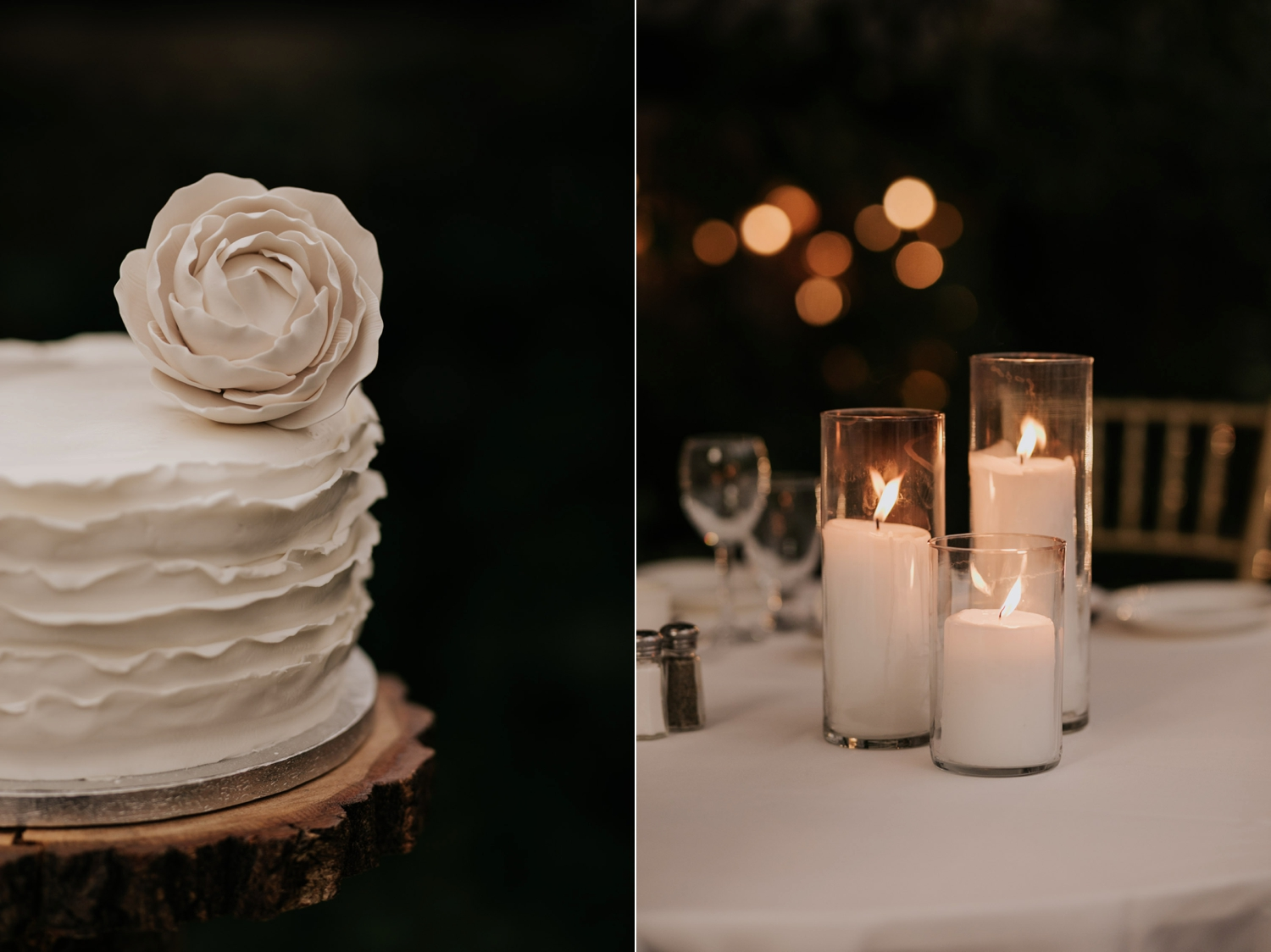 Classic trending plain white wedding cake with white rose on the top at Madsen's Greenhouse wedding venue in Newmarket near Toronto