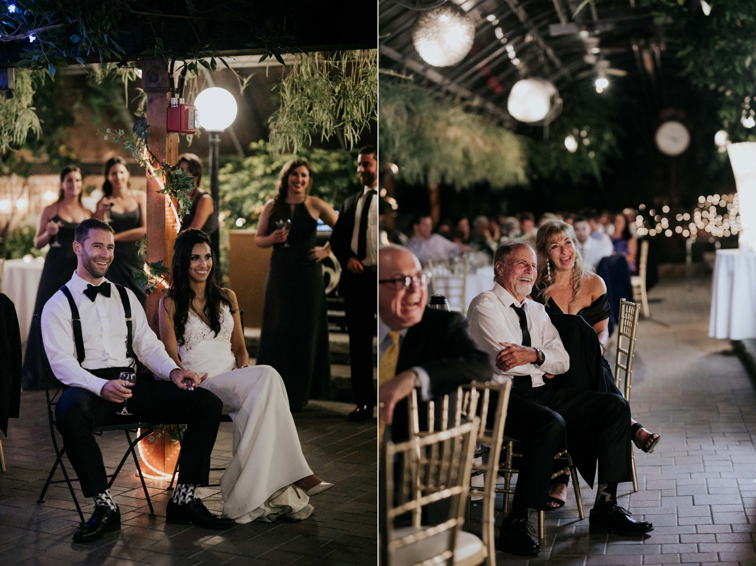 Natural candid photograph of wedding guests during speeches at wedding reception at Madsen's Greenhouse wedding venue in Newmarket close to Toronto