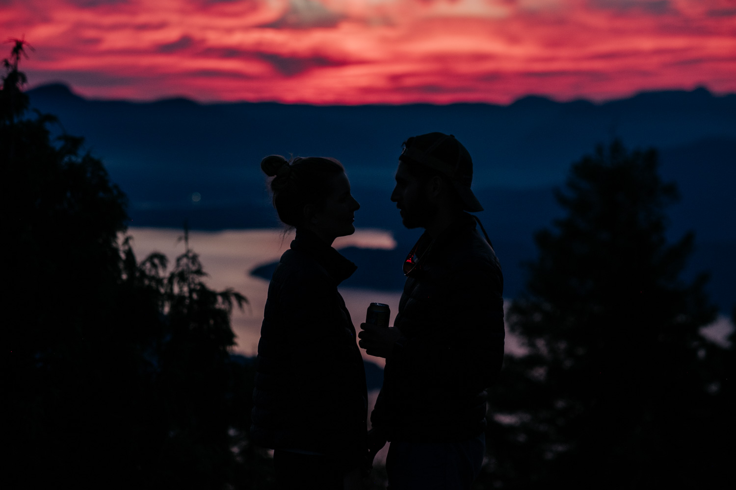 Sunset at Eagle's Point, a hike close to Vancouver, aspontaneous camping trip with friends. We arrived just in time to crack a cold one and watch the most insane sunset over Vancouver and the surrounding islands.