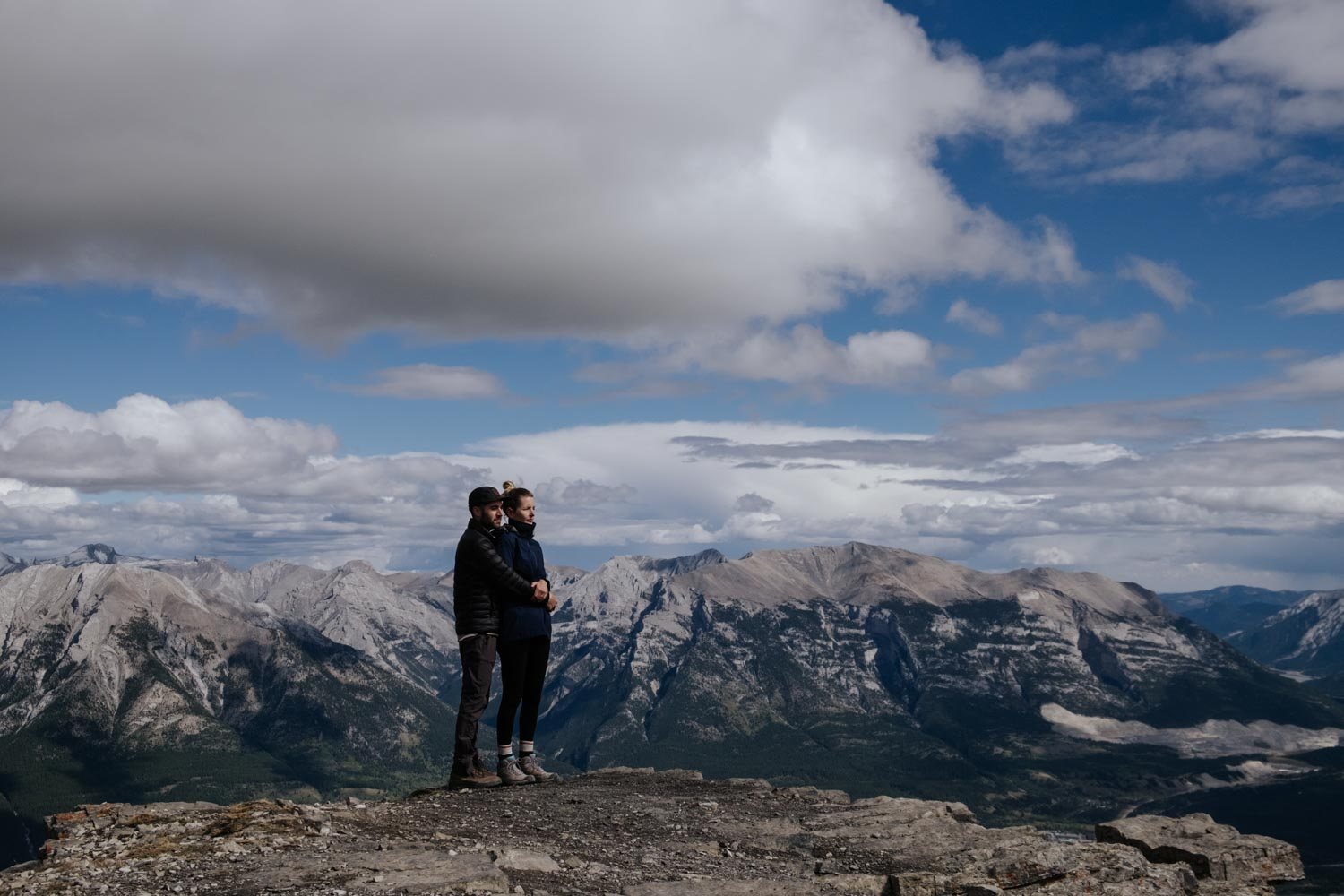 East End of Rundle is a hike close to Canmore with a pretty gnarly uphill grind and some really hairy sections. Of course the view from the top was 100% worth it – we were completely surrounded by epic mountains. Probably one of the top 5 views we have ever seen!