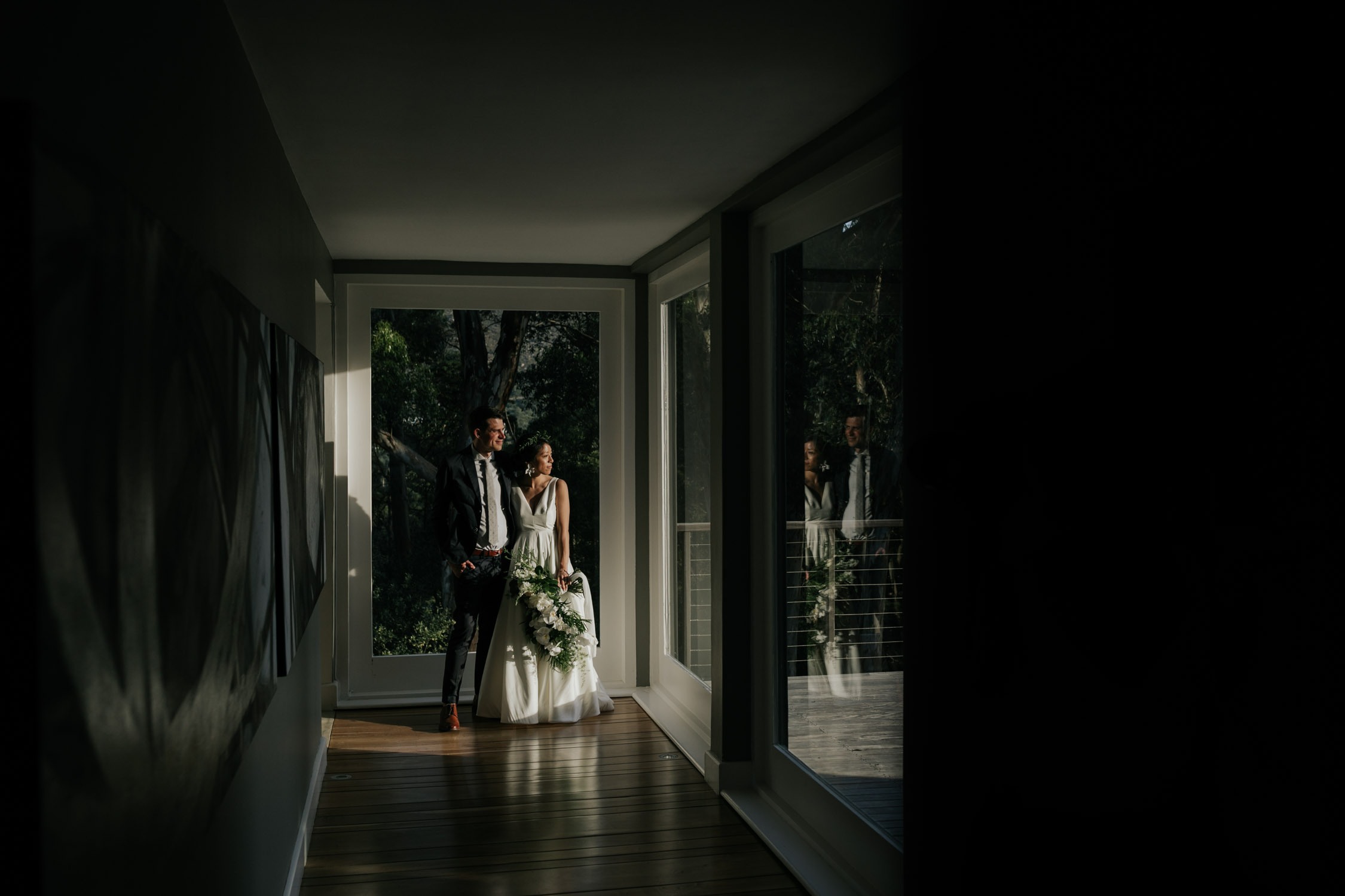 Interesting Light Shining On Bride And Groom During Couple Portrait Session