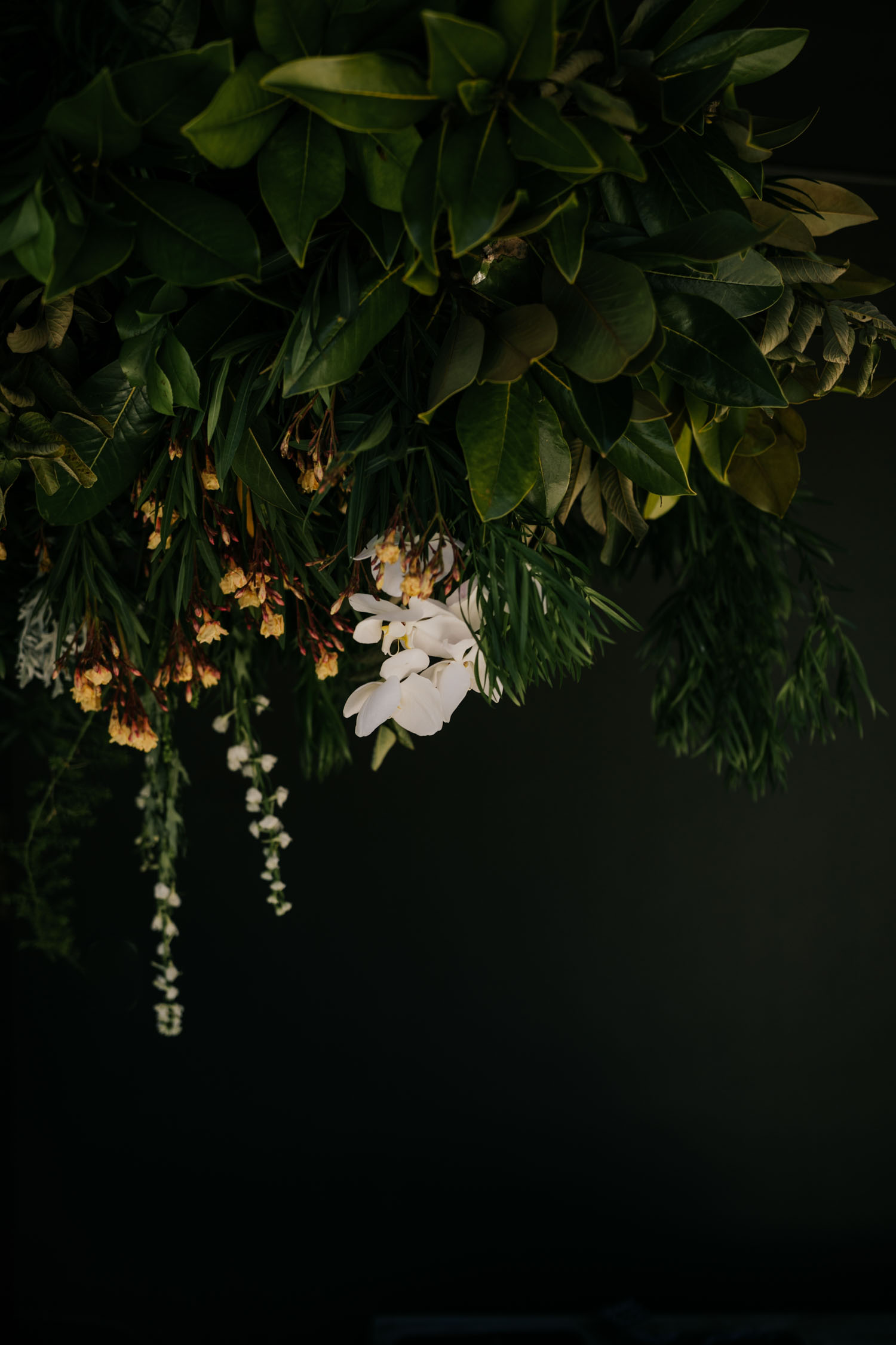 Green White Rust Wedding Flowers for Hanging Floral Installation Above Table