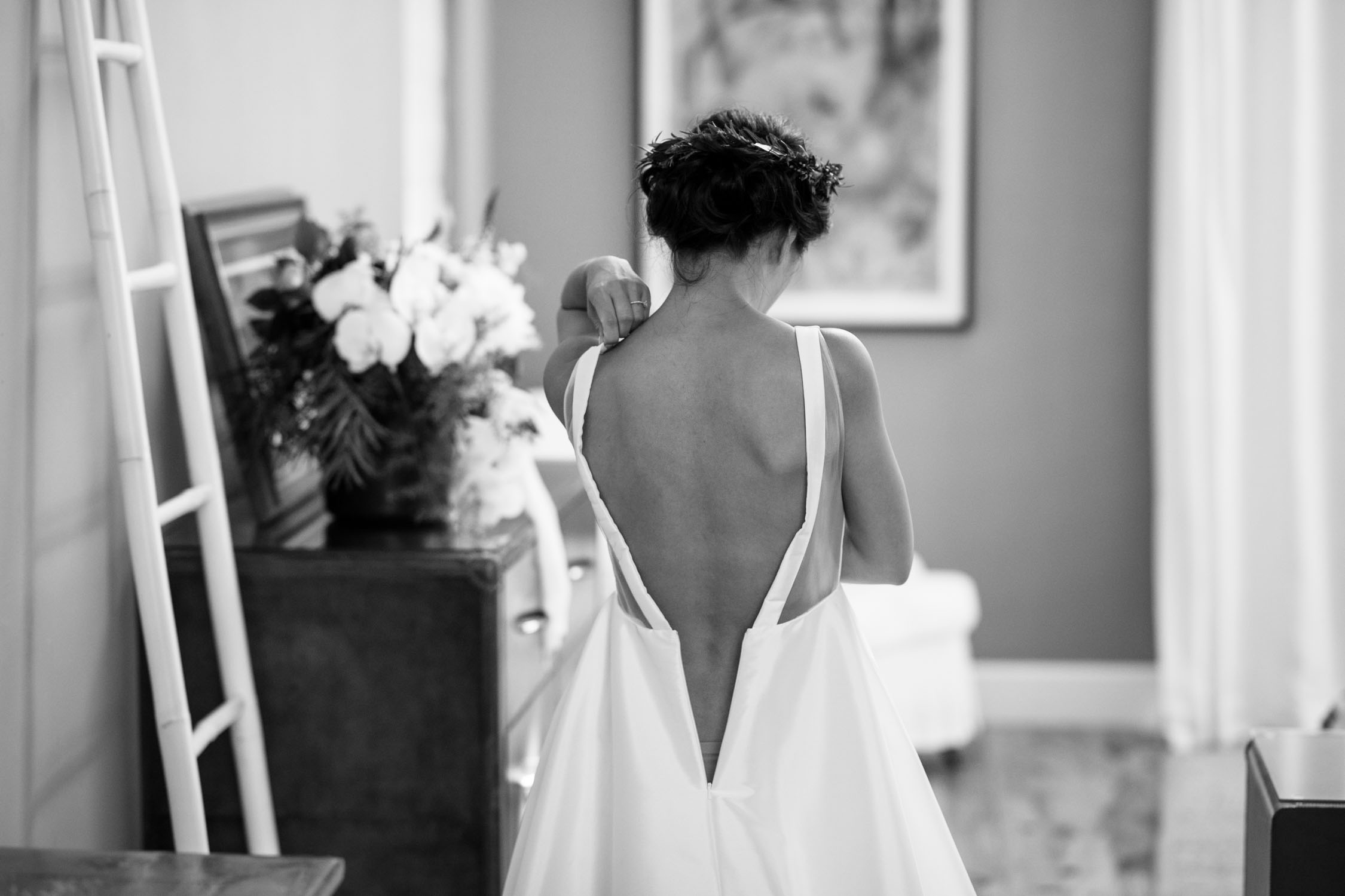 Elegant Backless Modern Sheer Wedding Dress Inspiration