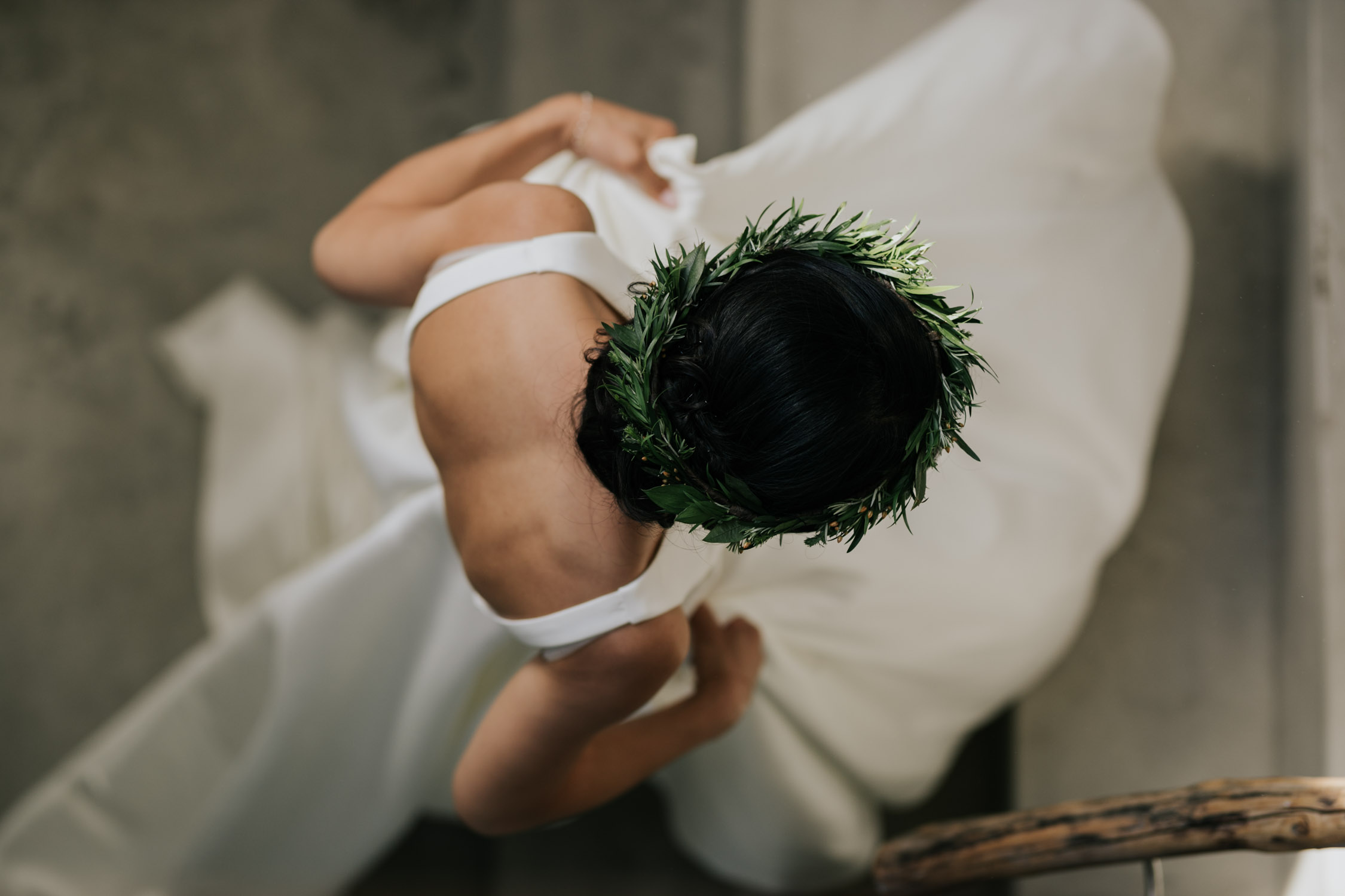Simple Green Leaf Bridal Flower Crown