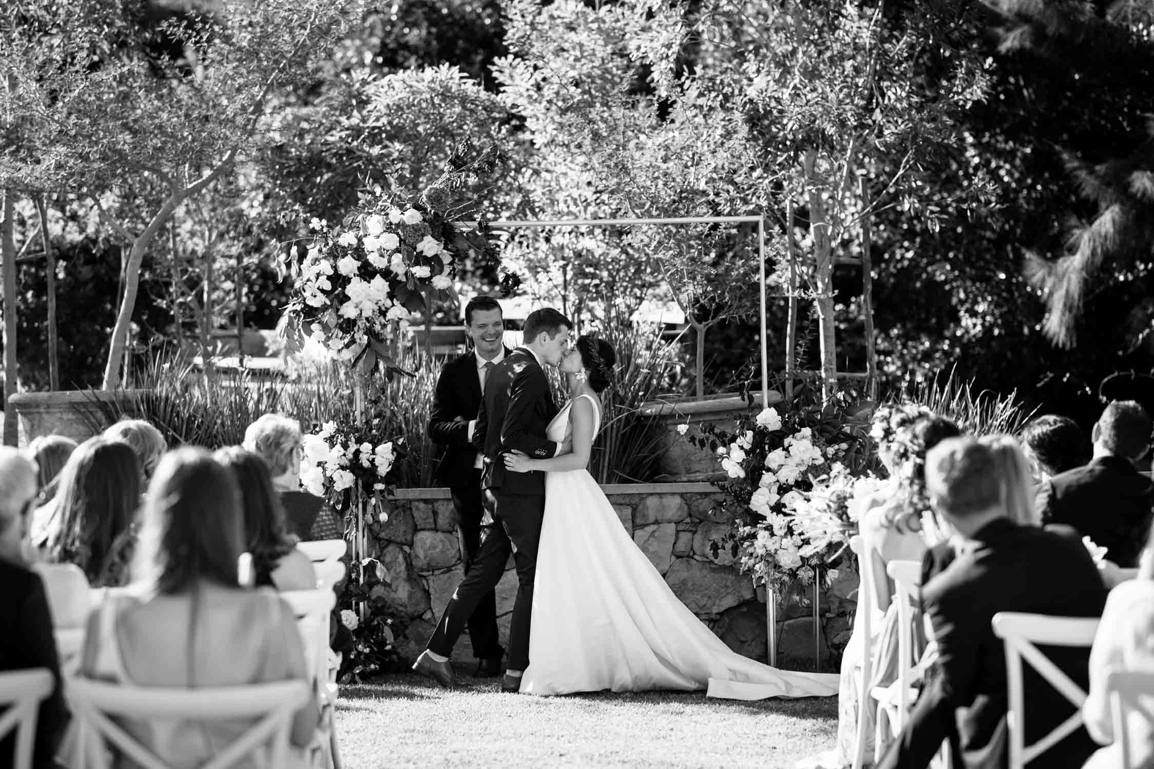 First Kiss Outdoor Vancouver Wedding Ceremony