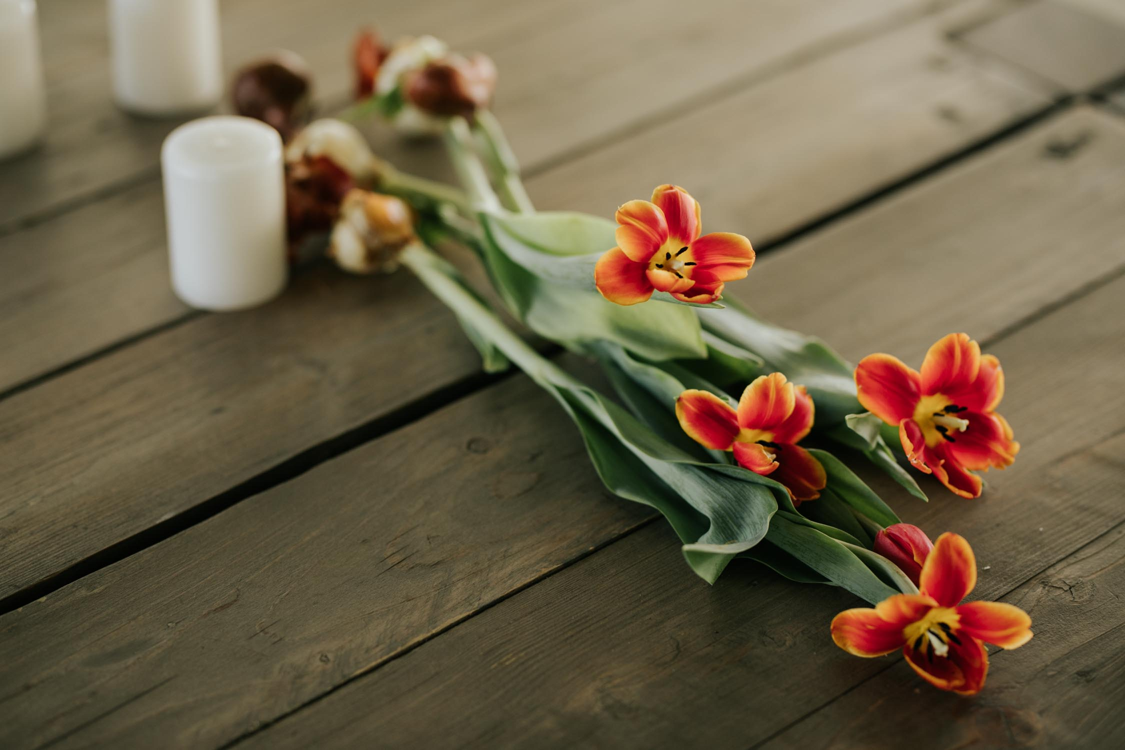 Alternative wedding flowers tulips on table with exposed bulb