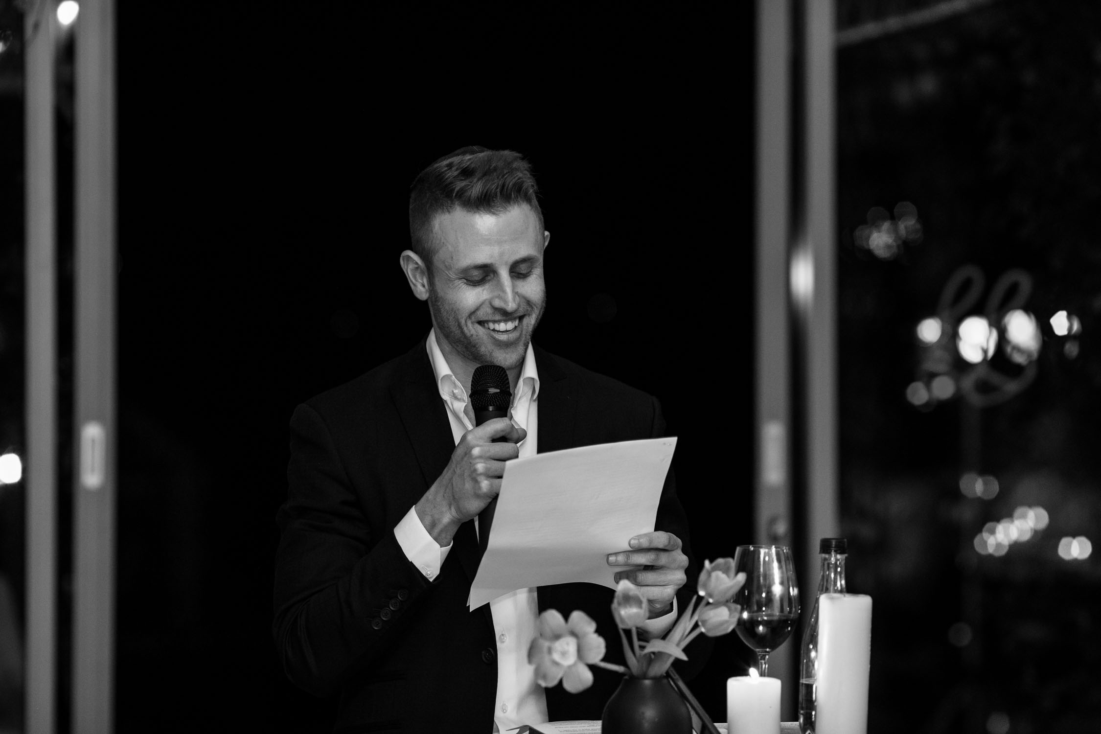 Emotional groom saying his wedding speech