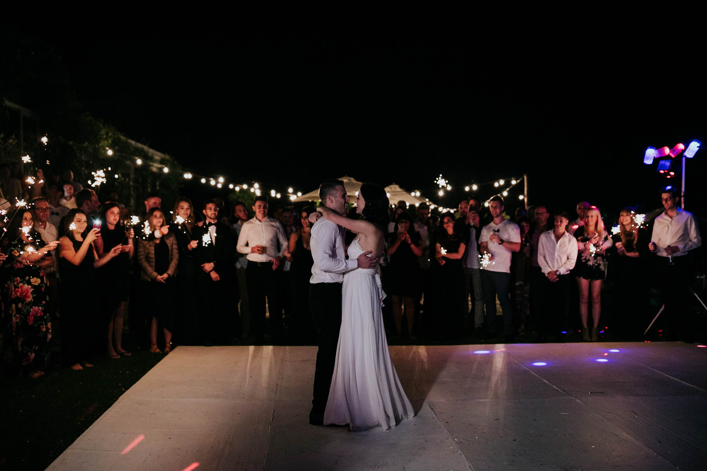 Outside Dance Floor First Dance Sparklers Belair Cape Town Wedding Venue