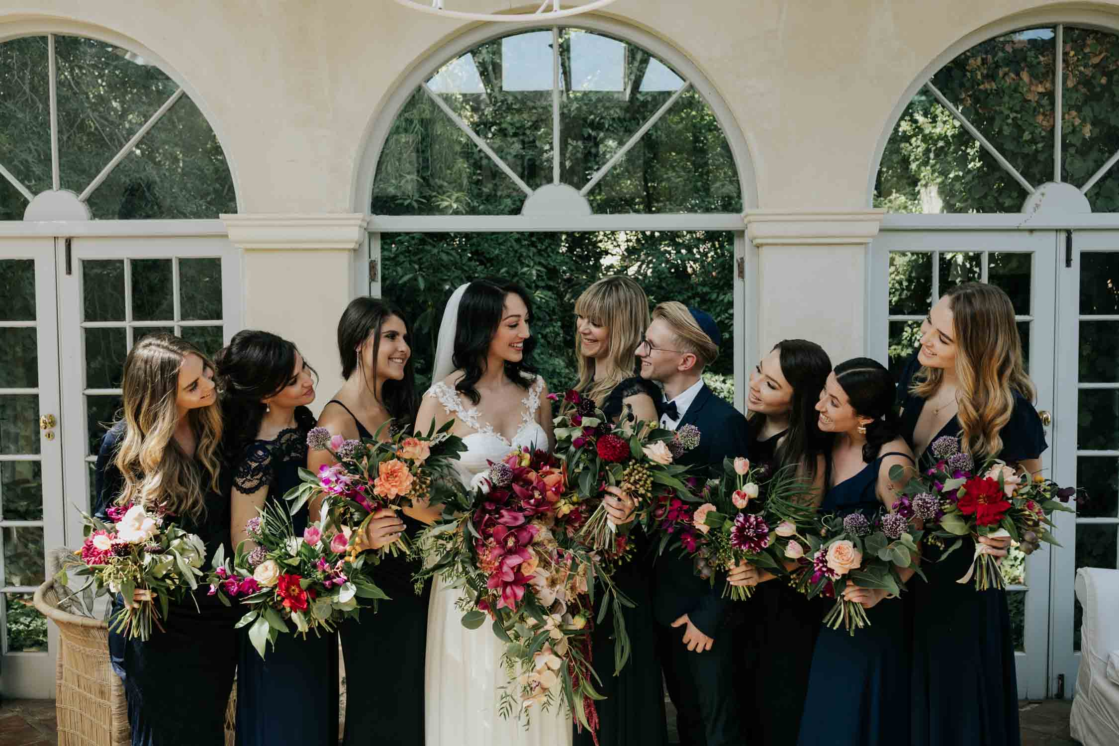 Candid and beautiful bridal party wedding photo