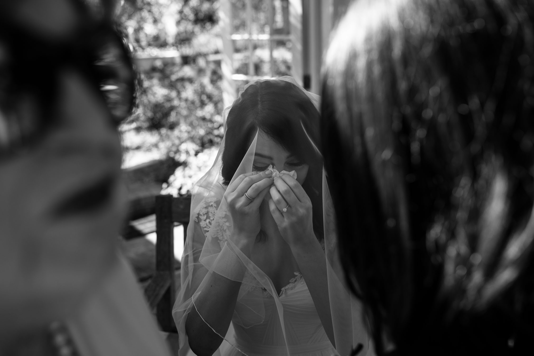 Black And White Photo Of Bride Crying