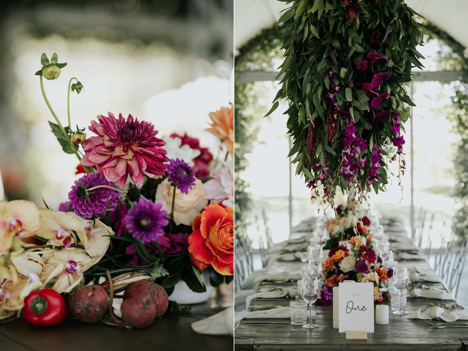 Bright beautiful trending wedding flowers with berries and vegetables
