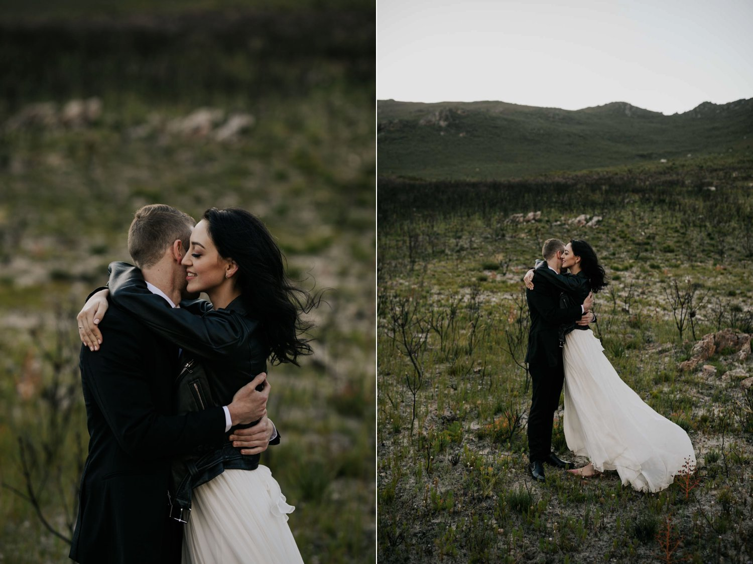 Bride Wearing White Dress And Leather Jacket