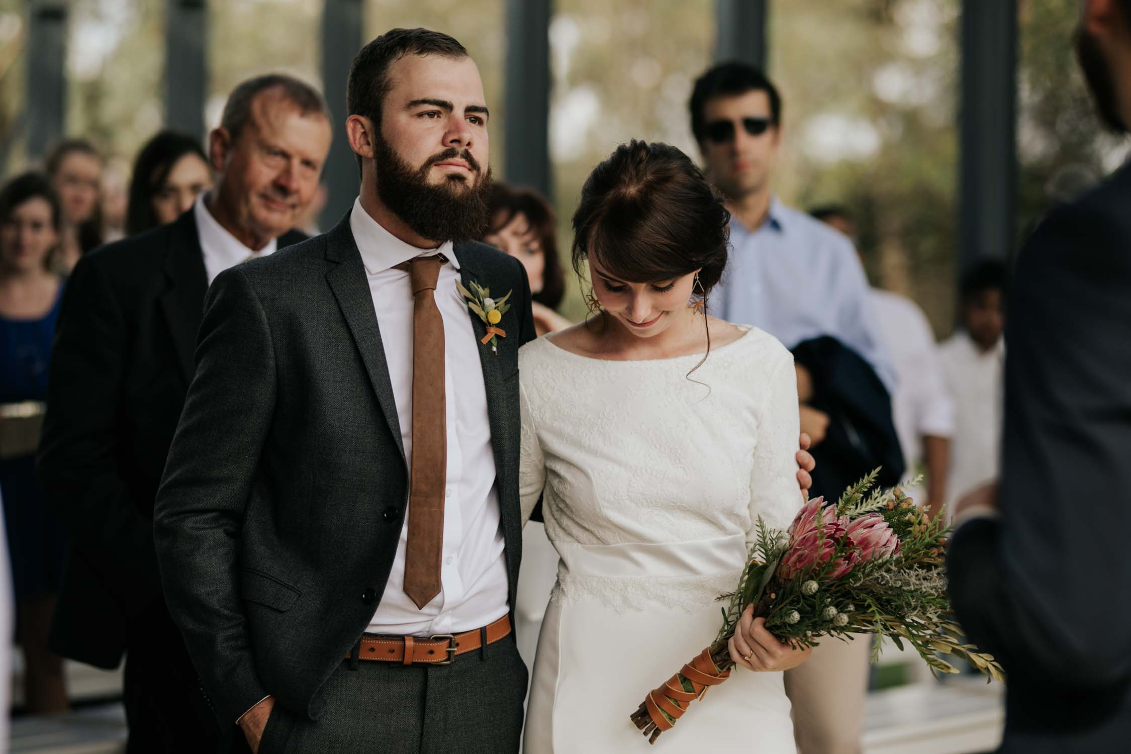 Hipster couple on their wedding day