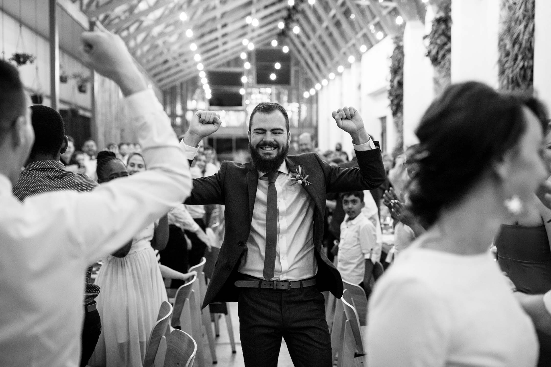 Groom on an emotional and happy high after getting married
