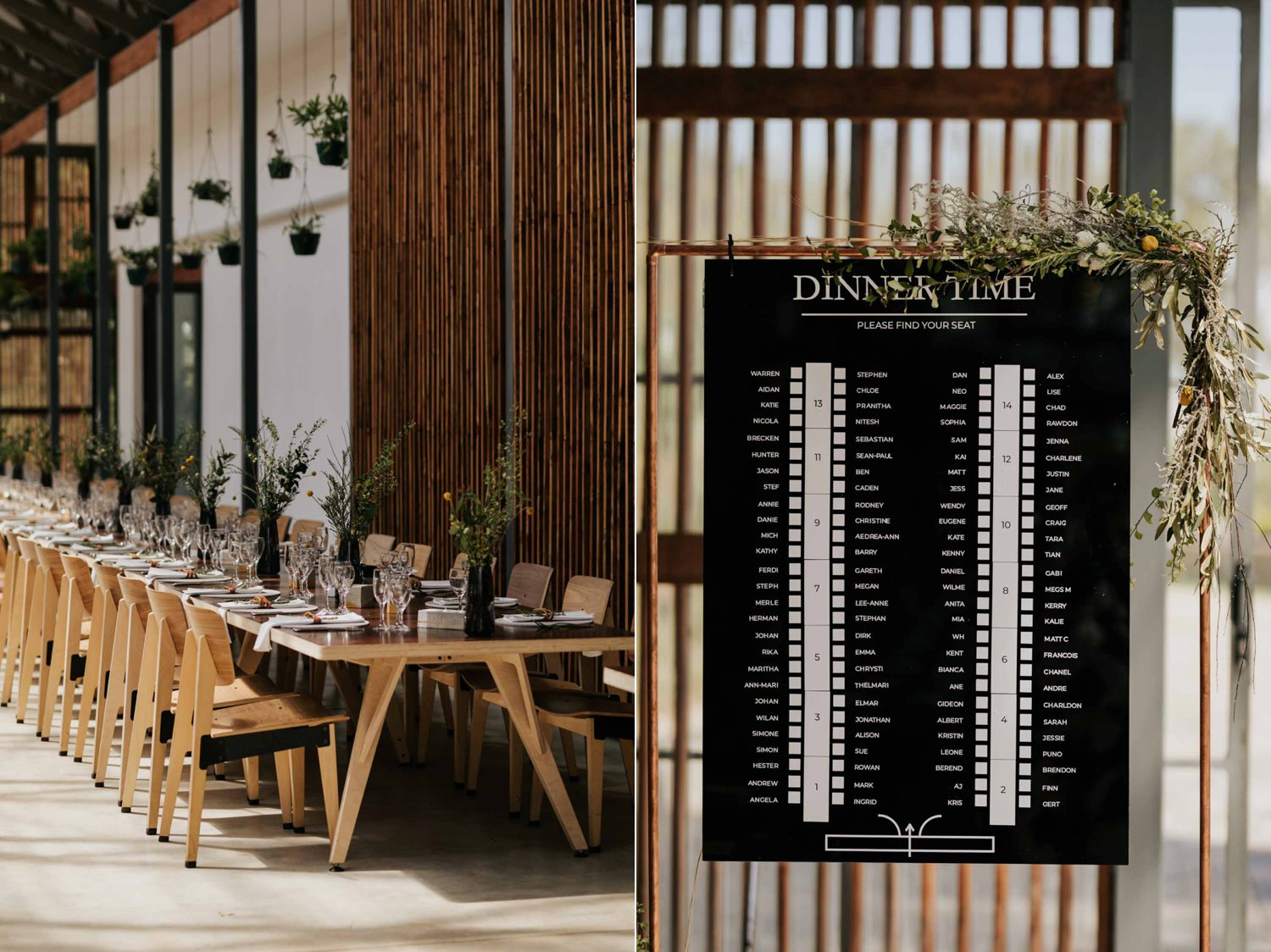 Minimal and scandi decor and black and white seating chart for wedding reception