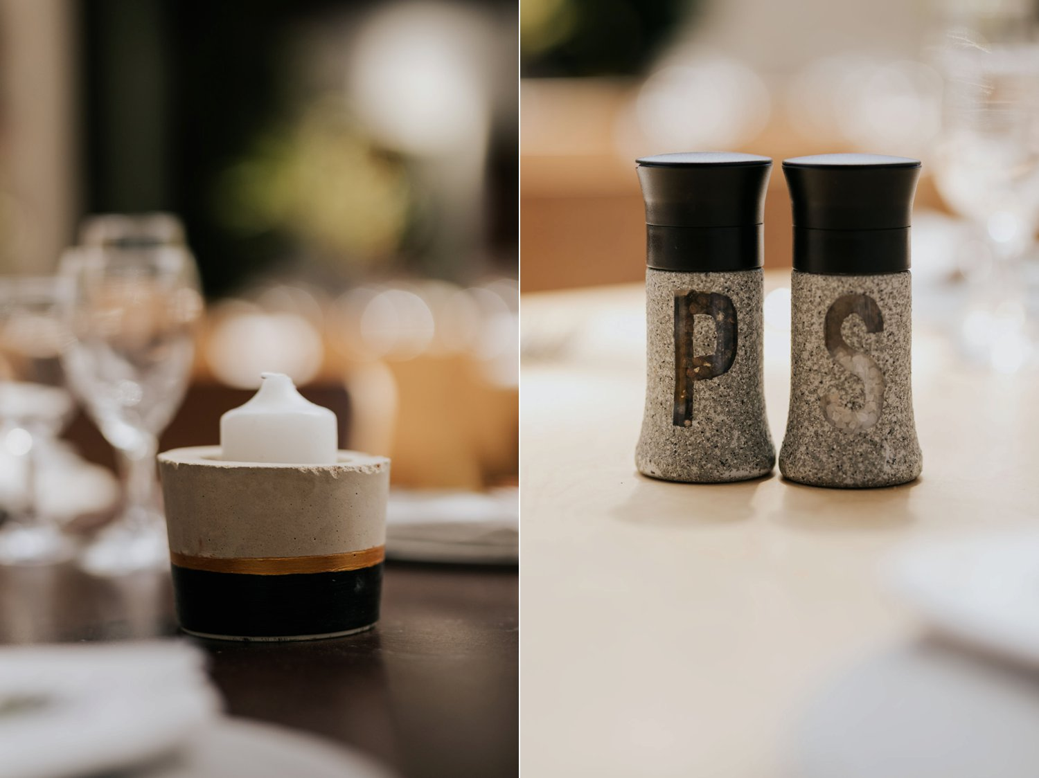 Cement candle holders and salt and pepper shakers for Scandi style wedding decor