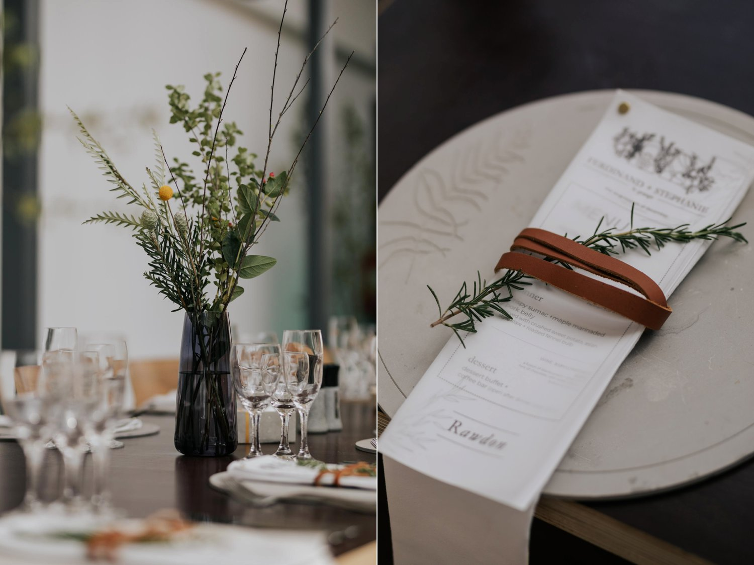 Wedding stationary and menu ideas with leather and rosemary details and black glass vases