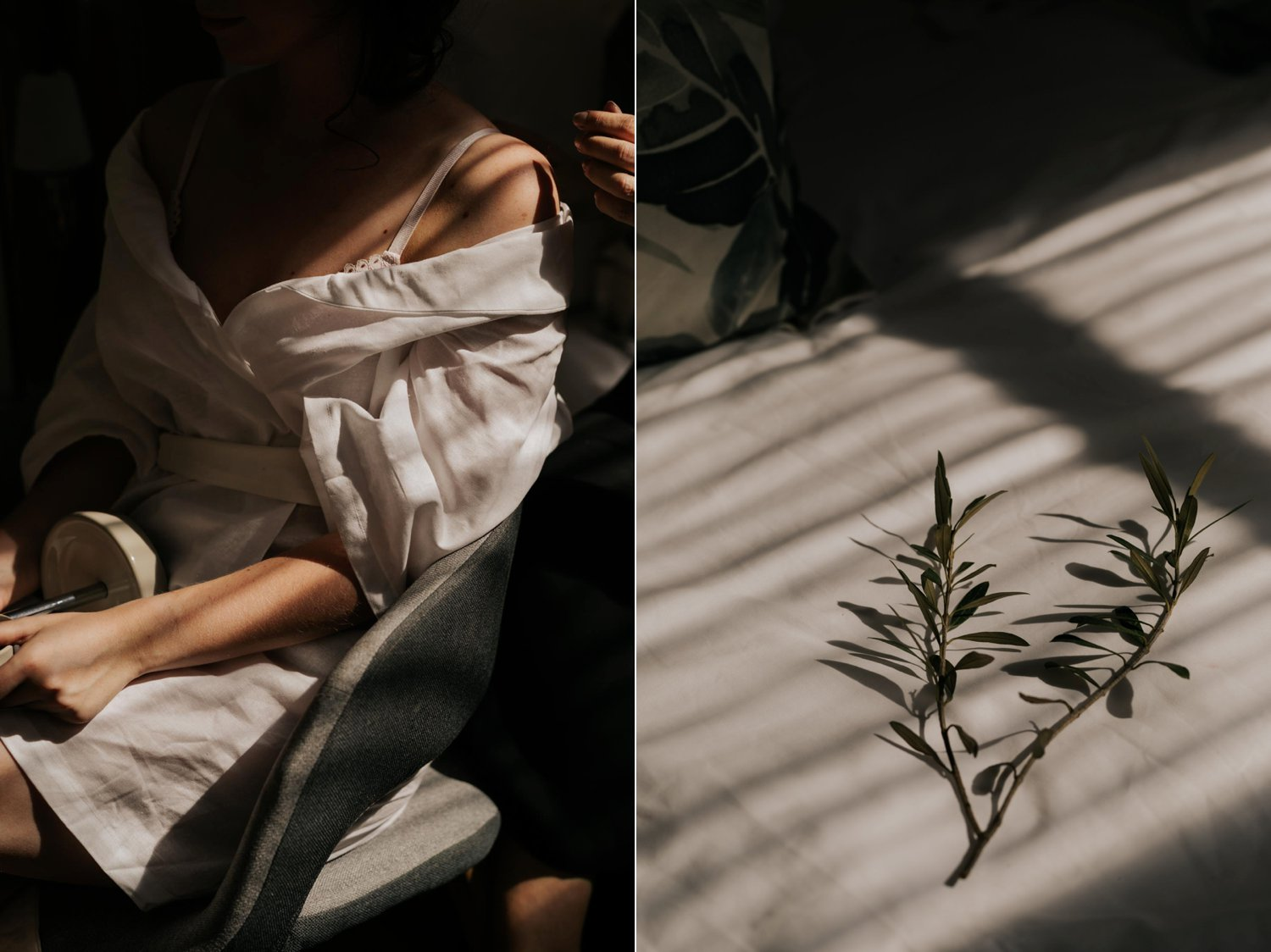 Artistic and creative wedding photo using interesting light and capturing details