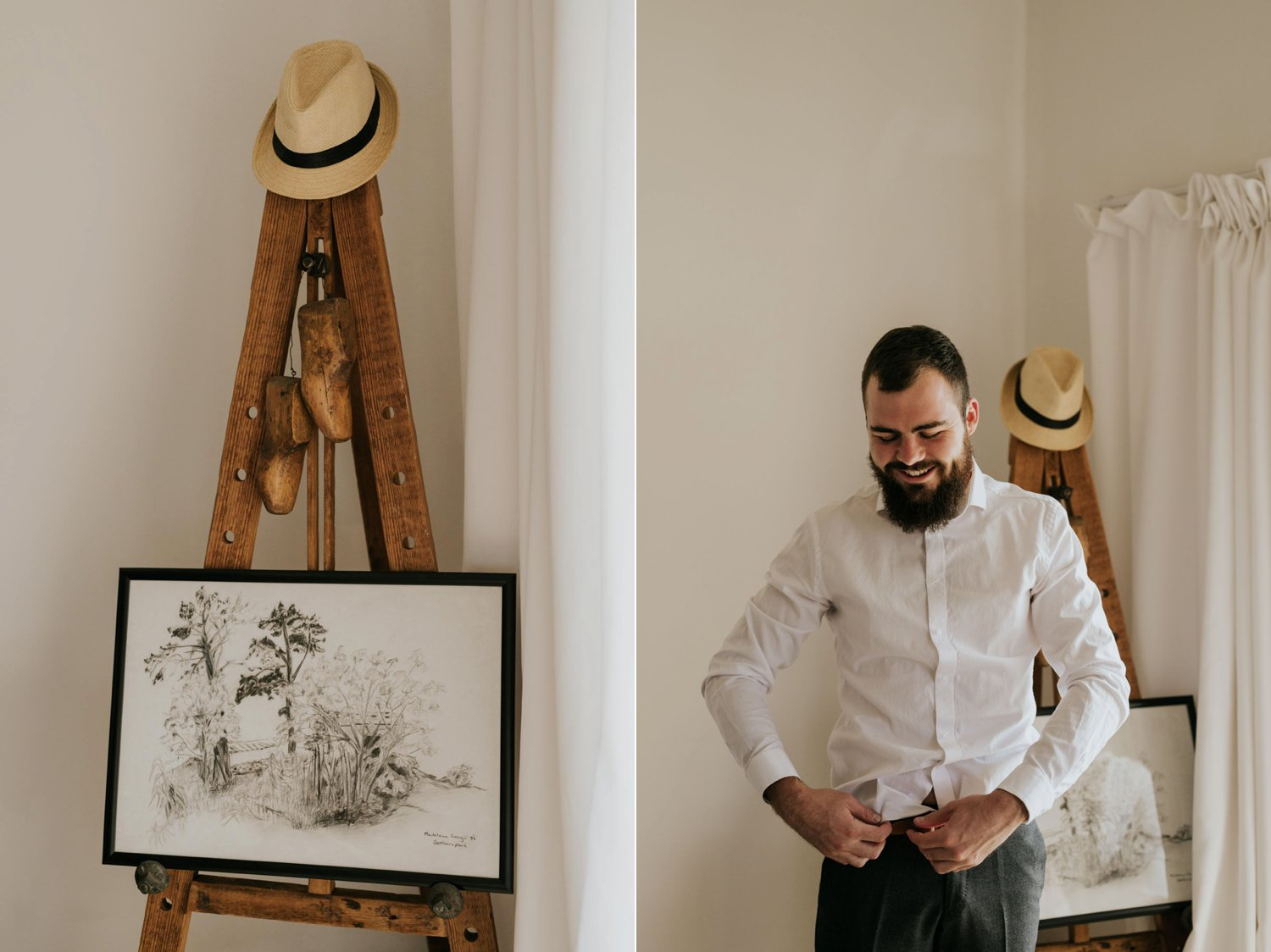 Documentary style photo of hipster groom with epic beard getting ready before his wedding ceremony