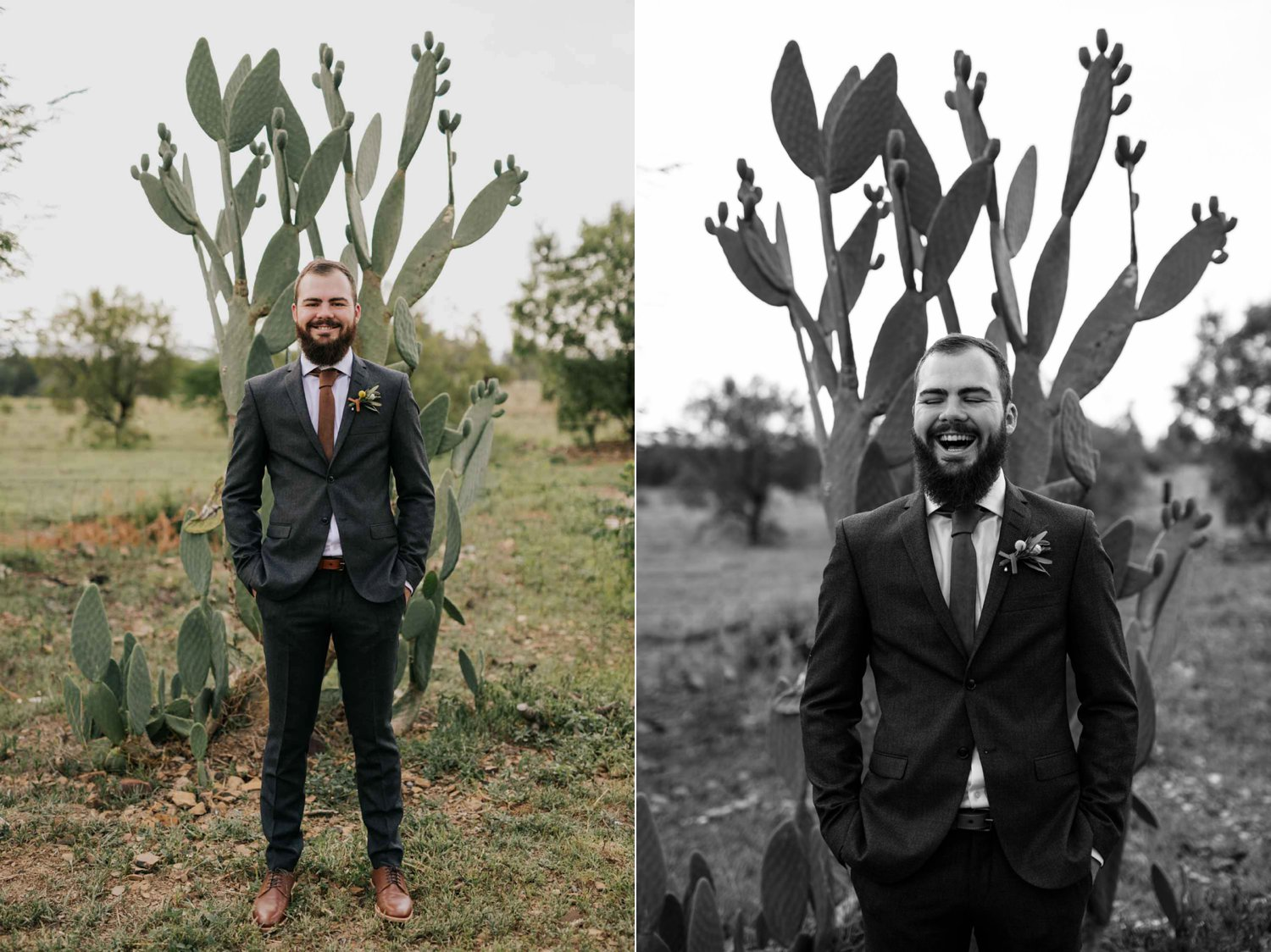 Portrait of groom in front on a cactus dressed in a trendy outfit consisting of a grey Tiger of Sweden jacket, leather tie, white shirt, fynbos boutineer and brown leather shoes