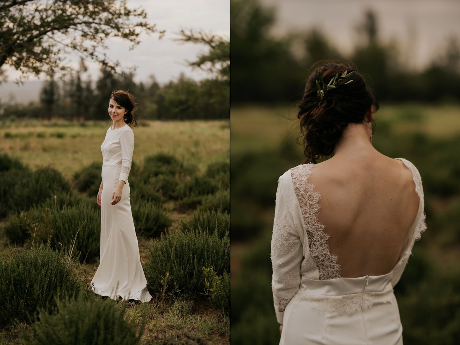 Modern bride wearing a simple lace backless wedding dress with three quarter sleeves stands in wild farm field
