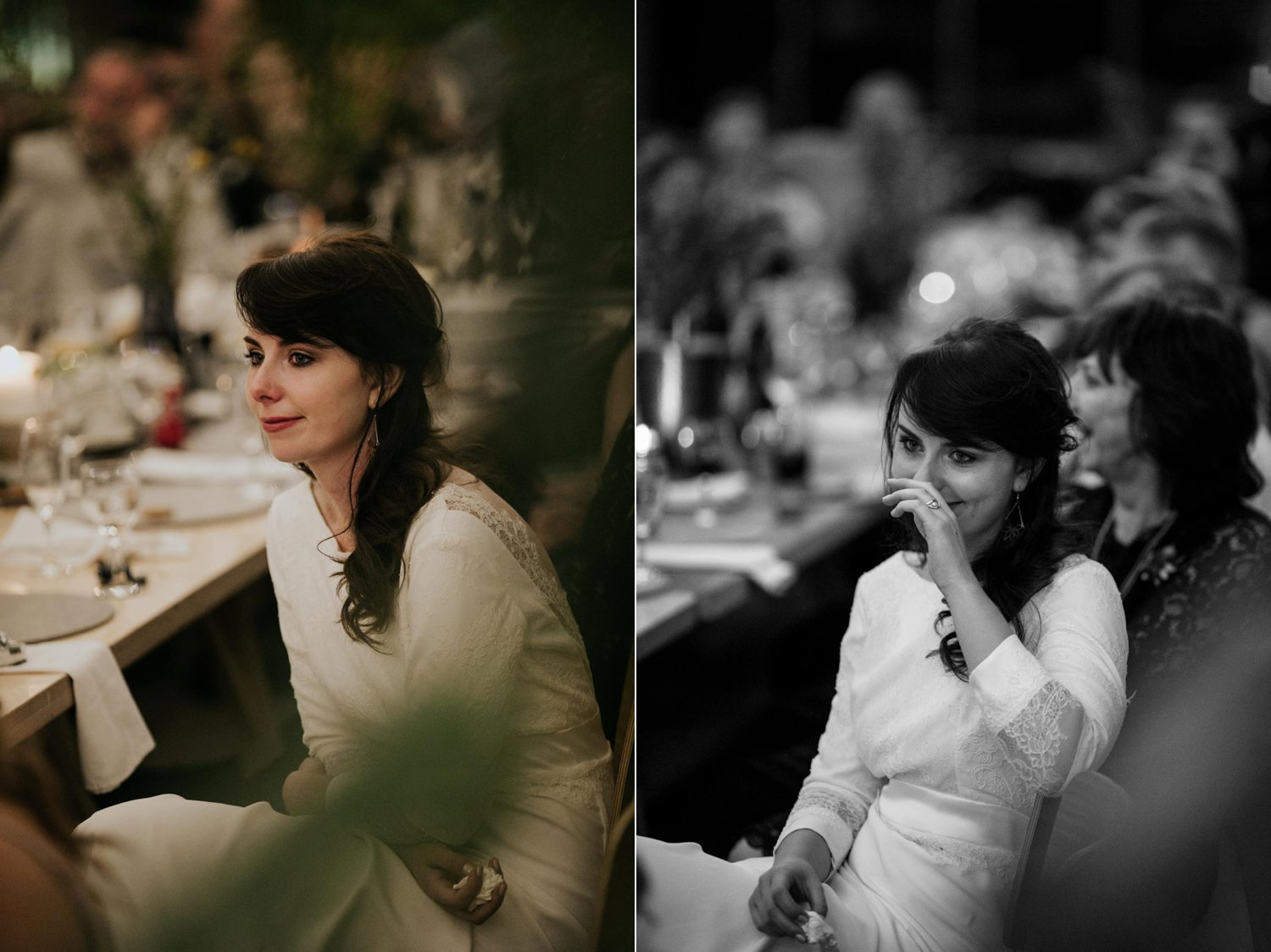 Photo of bride crying tears during grooms speech
