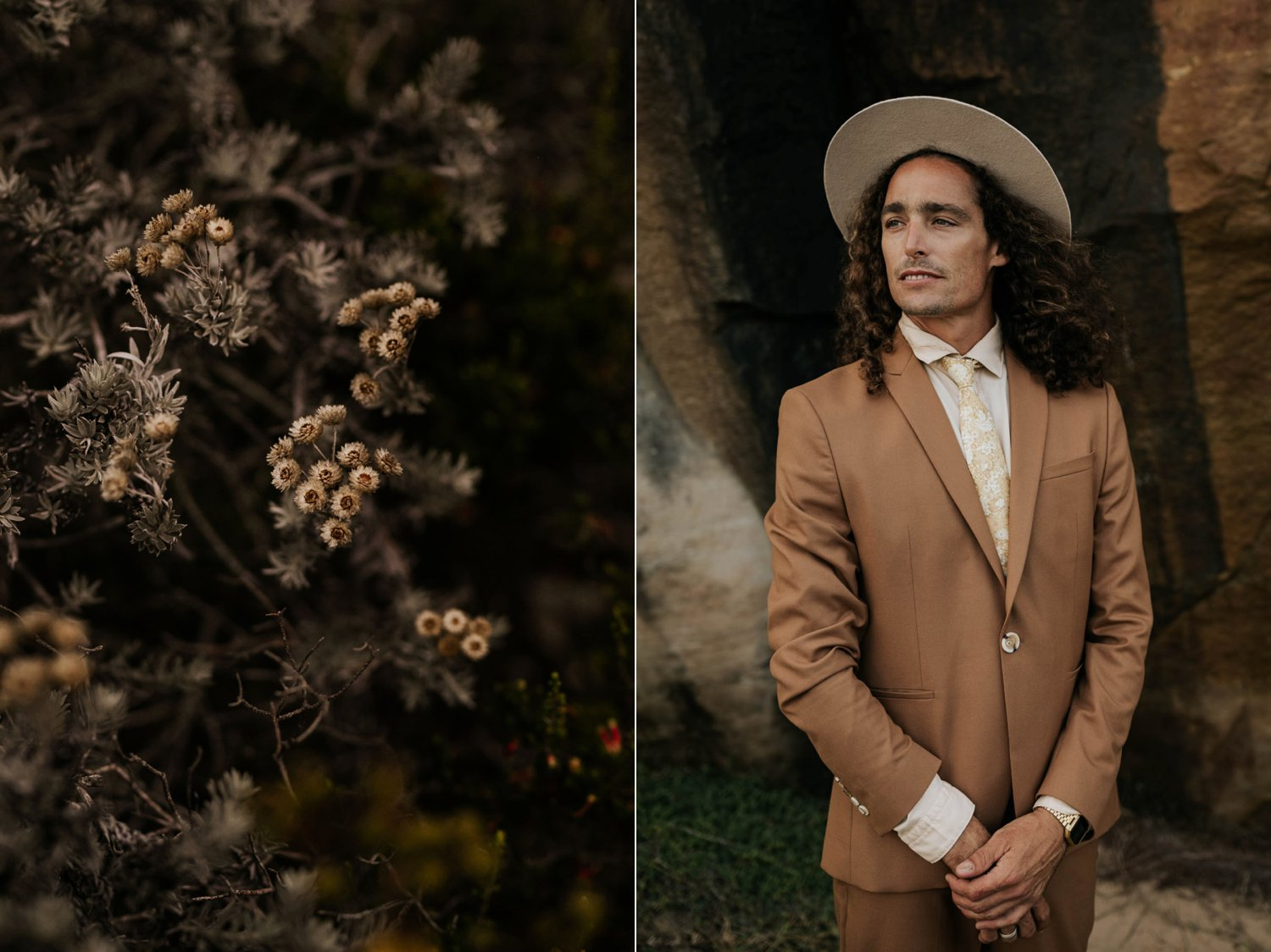 Bohemian wedding style, groom with long curly hair wears brown suite, beige shirt and felt hat