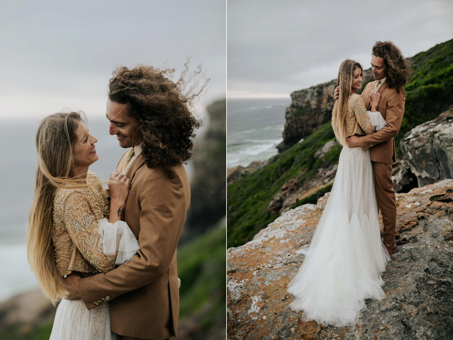 Wild and windy moody photo portrait session of bride and groom at the beach