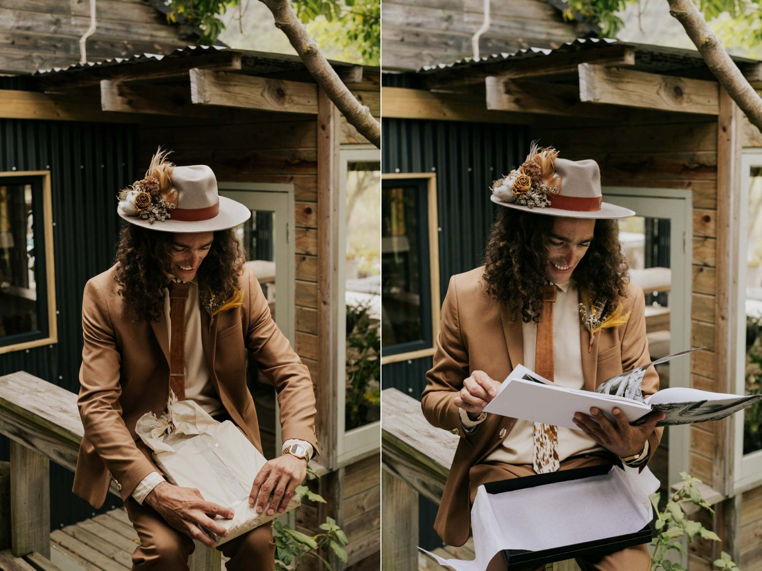 Groom wearing brown suite, beige shirt, brown Nguni cowhide tie and felt hat decorated with foraged dried flowers, feather and cotton opens present from his boho bride