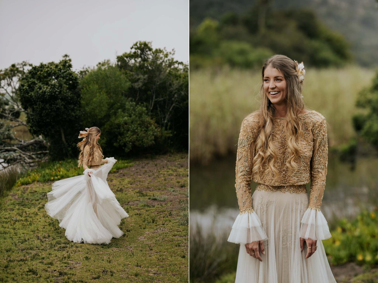 Gypsy bride with long curly blonde hair wears two piece gold and cream long sleeve wedding dress and feathers and plait in her hair spins at Emily Moon River Lodge