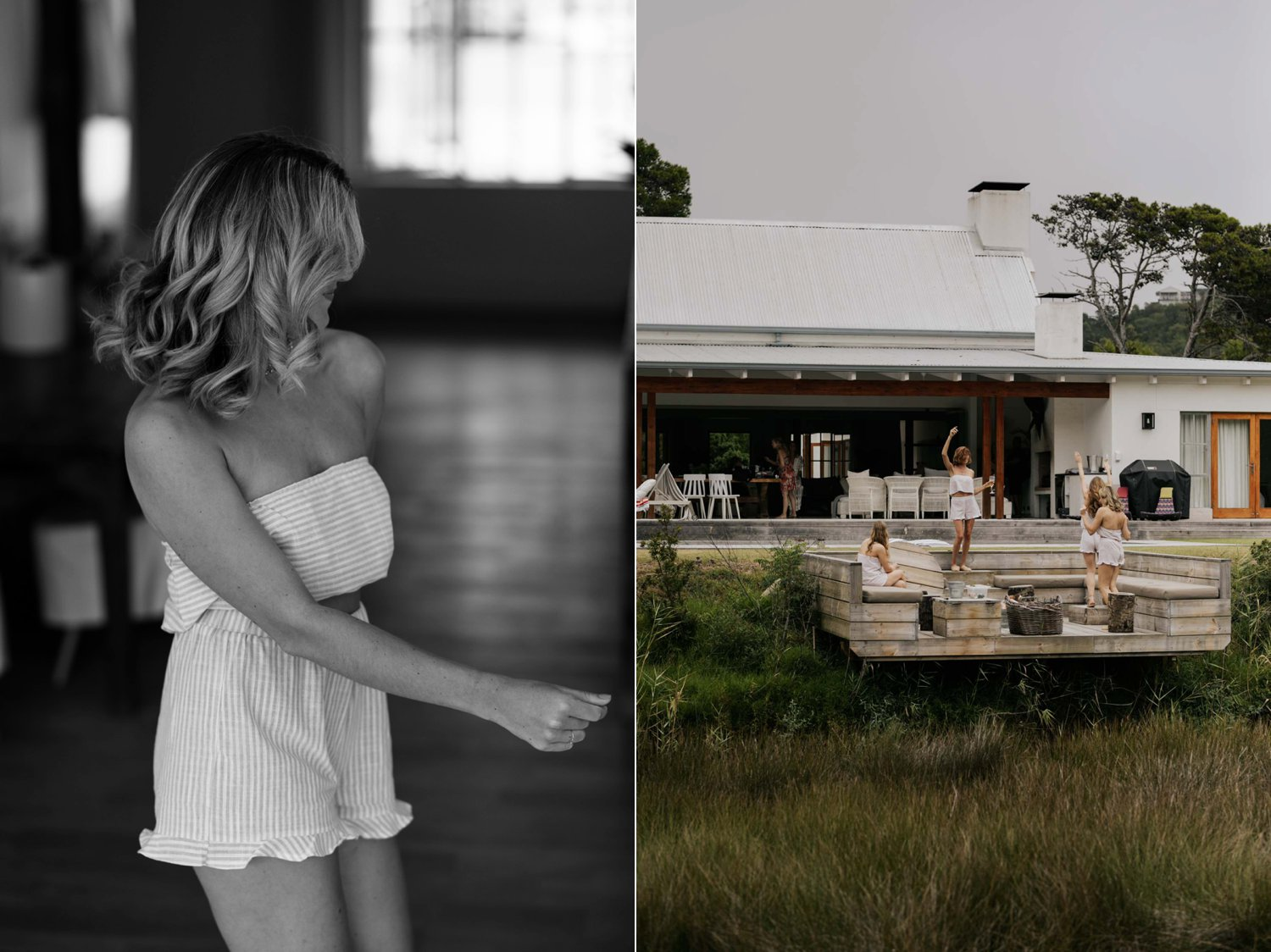 Bridesmaids dancing in their boho striped matching PJs while getting ready from wedding at Emily Moon