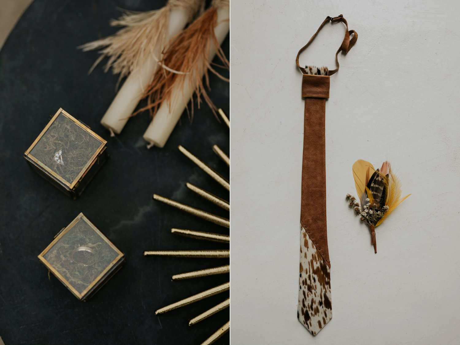 Boho groom's wedding details, a leather Nguni cow hide tie and foraged feather and dried flower boutineer