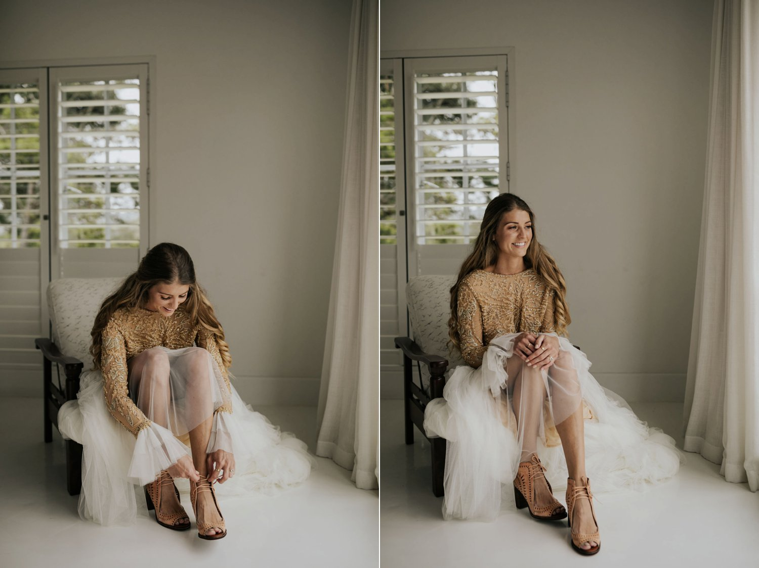 Bride with boho gypsy gold and cream dress with flared sleeves puts on brown leather cut out wedding shoes