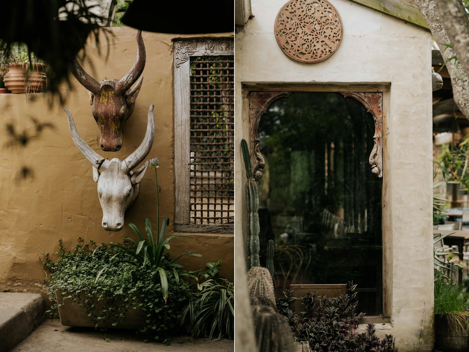 African artefacts and Bali inspired decor on the walls at Emily Moon Hotel in the Garden Route