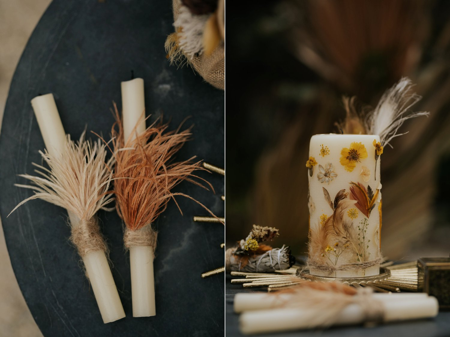 Boho candles with dried flowers and feathers for candle lighting wedding ceremony at Bohemian wedding in Plett near Cape Town