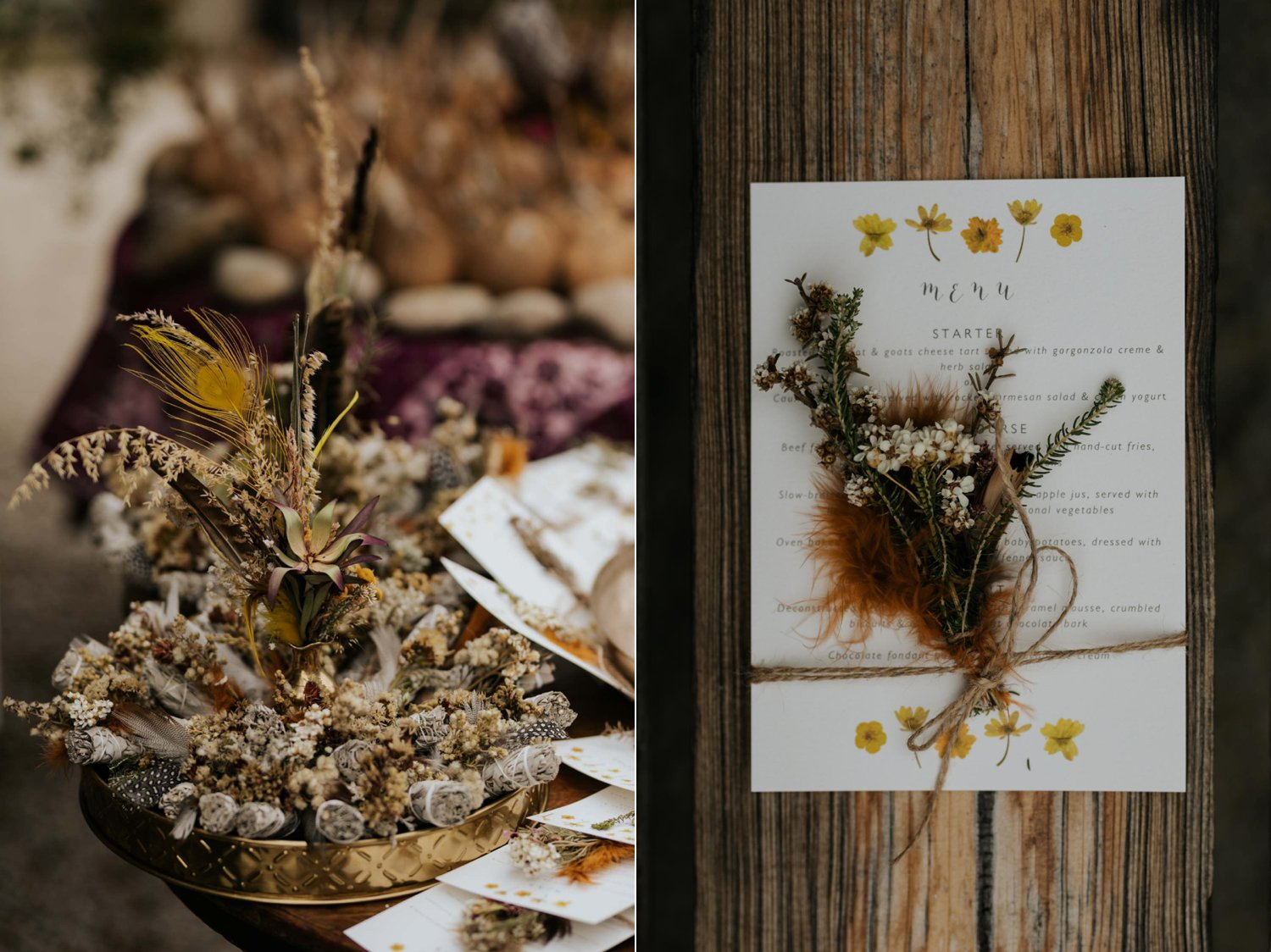 Boho inspired order of ceremony and wedding details with dried foraged flowers and feathers and sagging sticks for wedding ceremony